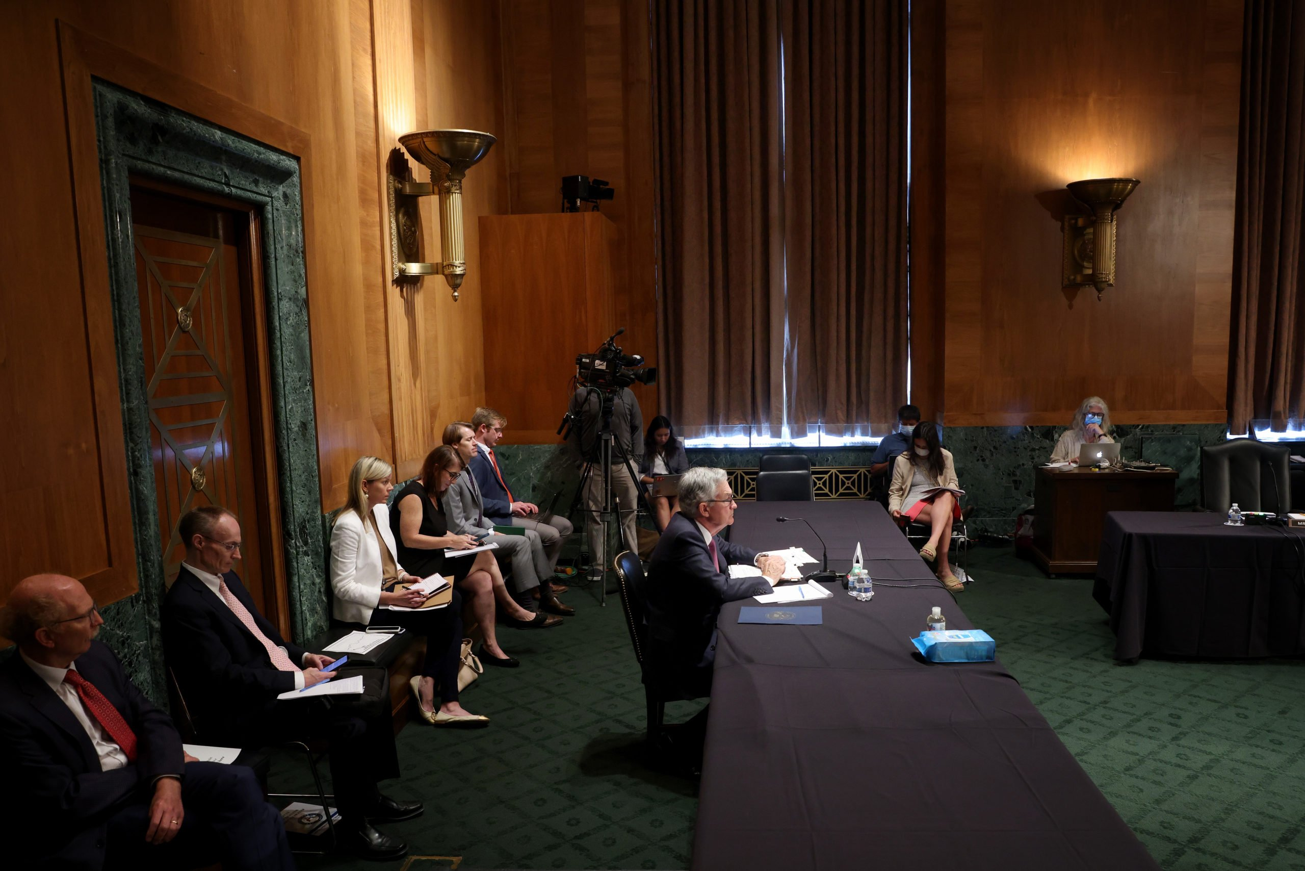 Federal Reserve Chairman Jerome Powell testifies before the Senate Banking Committee on Thursday. (Win McNamee/Getty Images)