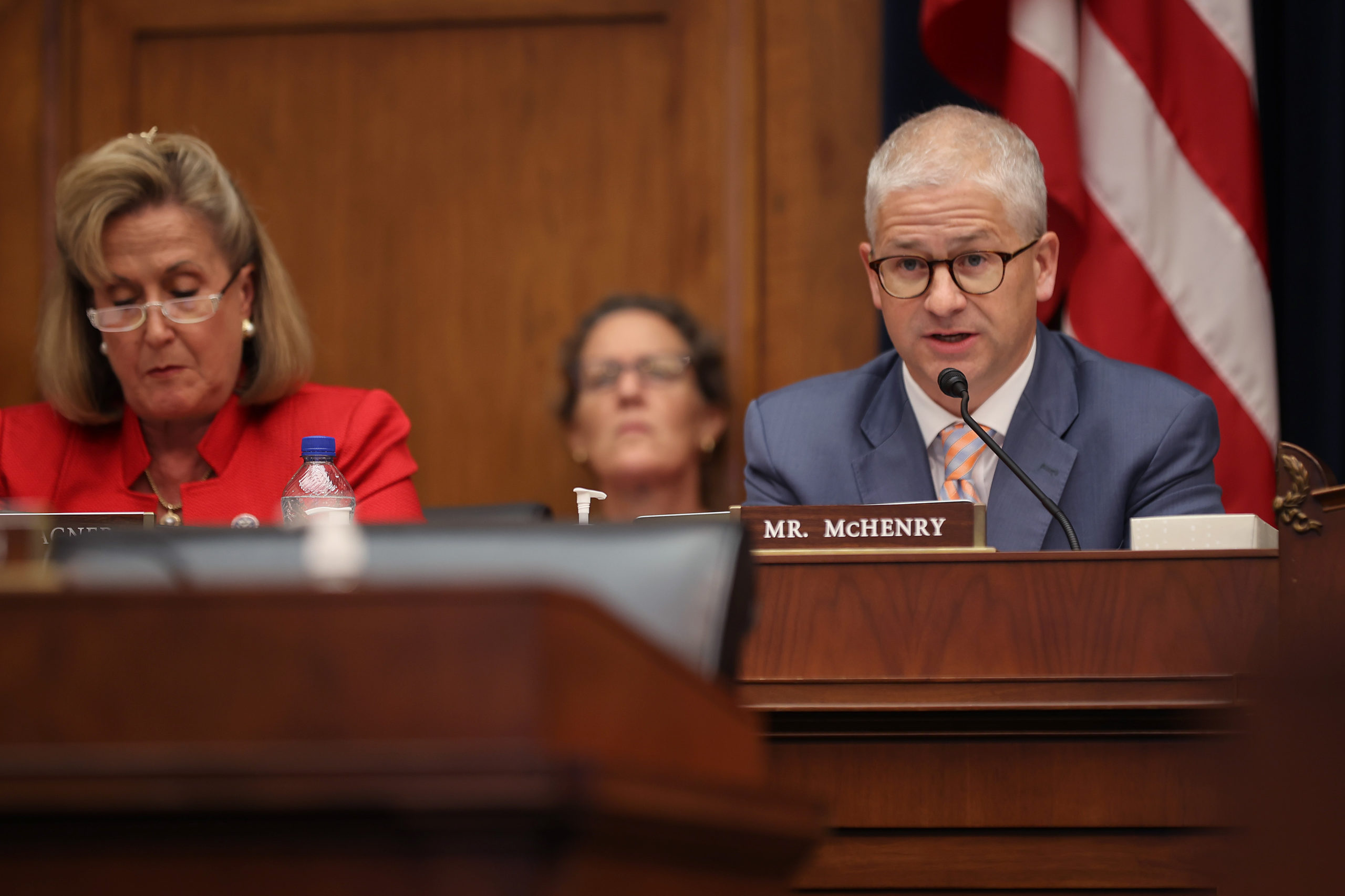 House Financial Services Committee Ranking Member Patrick McHenry delivers opening remarks at a hearing on Wednesday. (Chip Somodevilla/Getty Images)