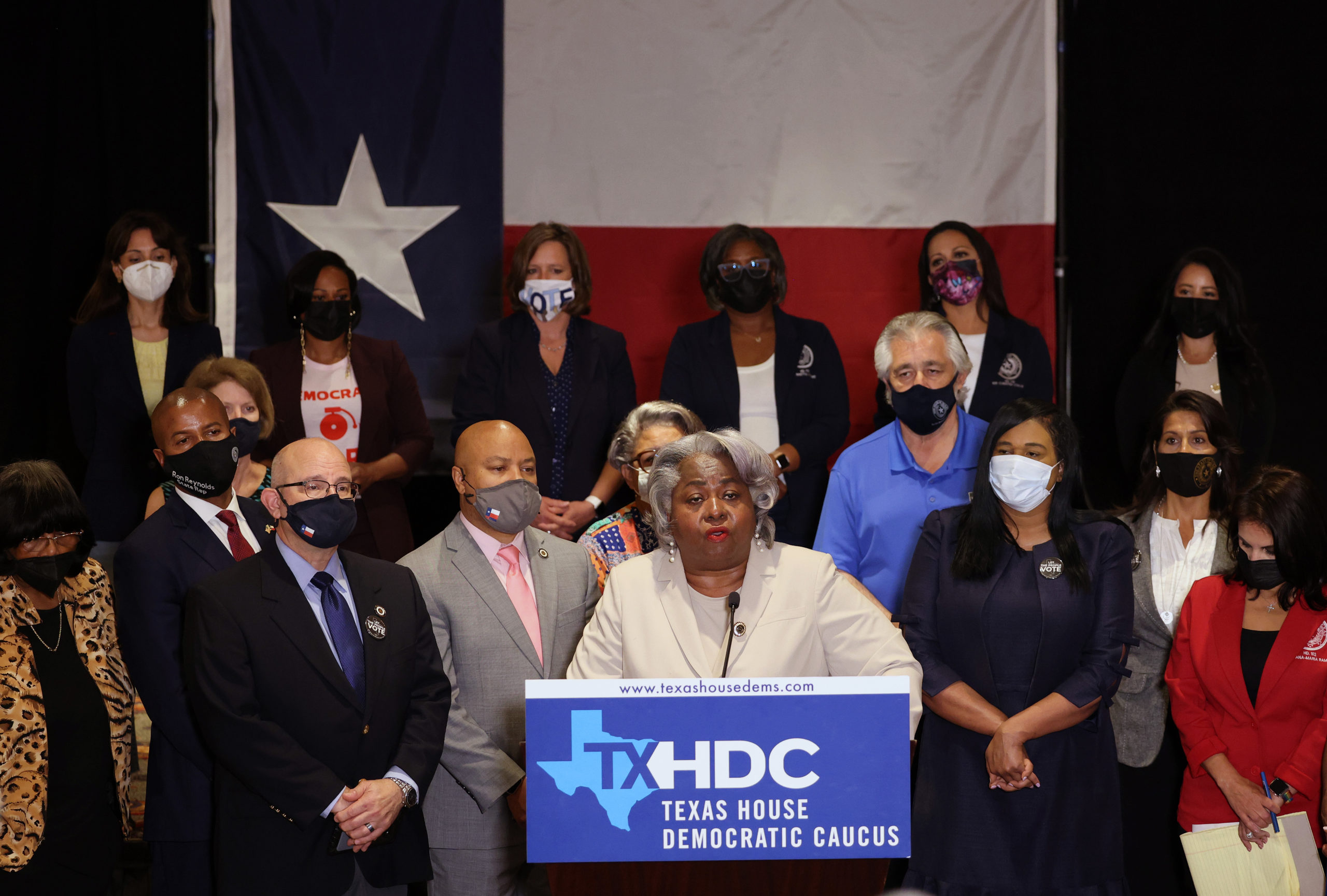 WASHINGTON, DC - JULY 20: Texas State Rep. Barbara Gervin-Hawkins (D-120), joined by fellow Democratic Texas state representatives, speaks at a press conference on Texas Gov. Greg Abbott and the group's meetings with federal lawmakers on voting rights, on July 20, 2021 in Washington, DC. Members of the Texas House Democratic Caucus continue to lobby for voting rights reform in Washington, DC after leaving Texas to block a voting restrictions bill by denying a Republican quorum. (Photo by Kevin Dietsch/Getty Images)