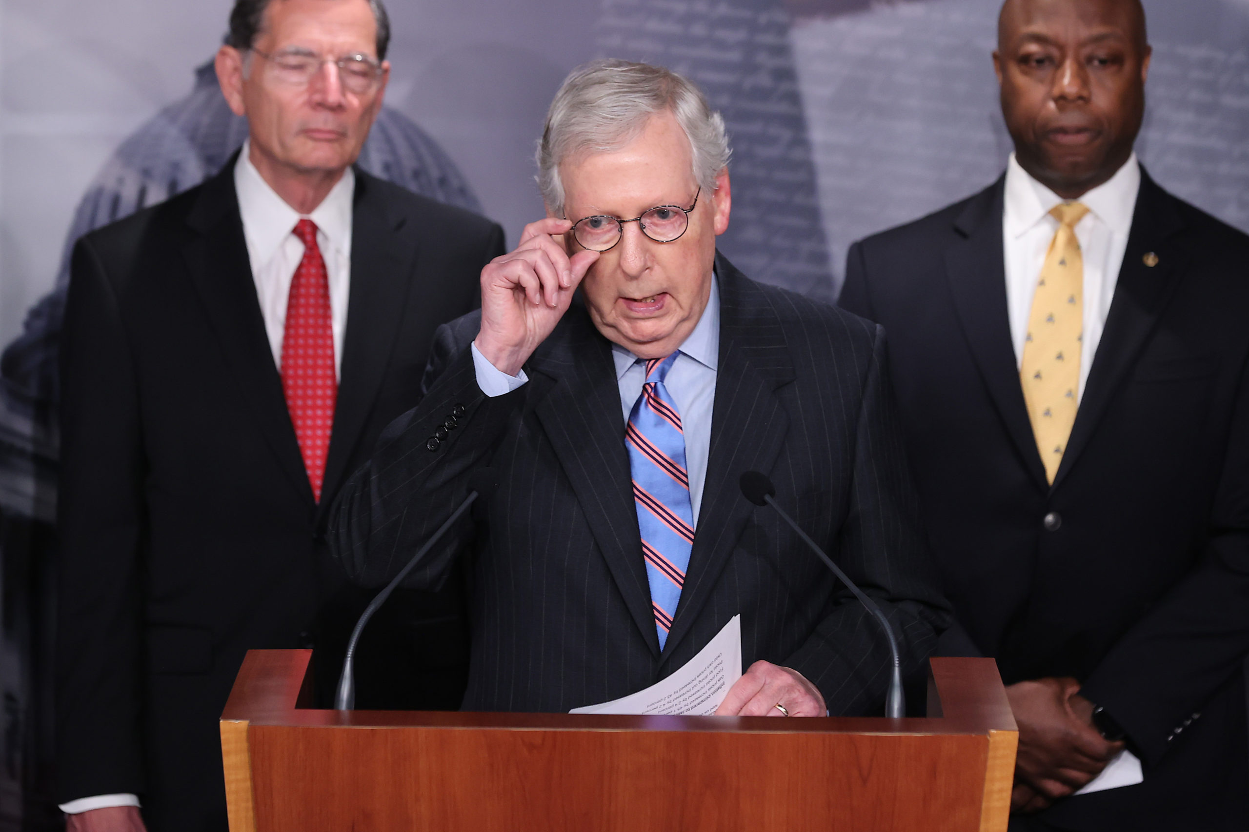Senate Minority Leader Mitch McConnell joins other Republicans during a news conference on Thursday. (Chip Somodevilla/Getty Images)