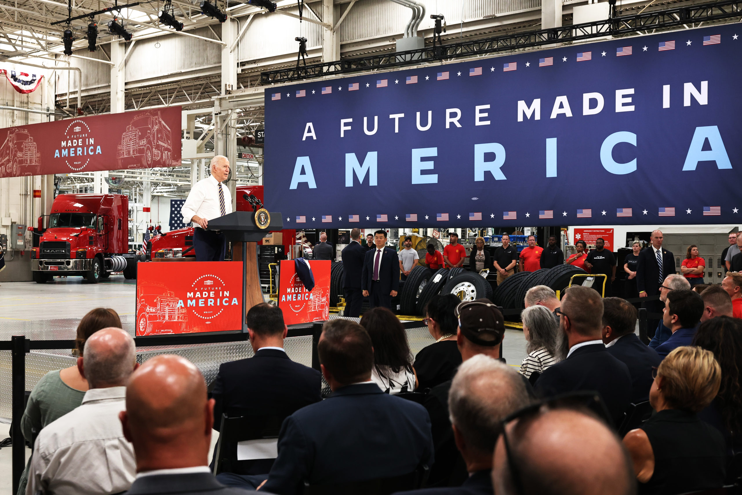 President Joe Biden speaks at a truck facility on Wednesday in Macungie, Pennsylvania. (Michael M. Santiago/Getty Images)