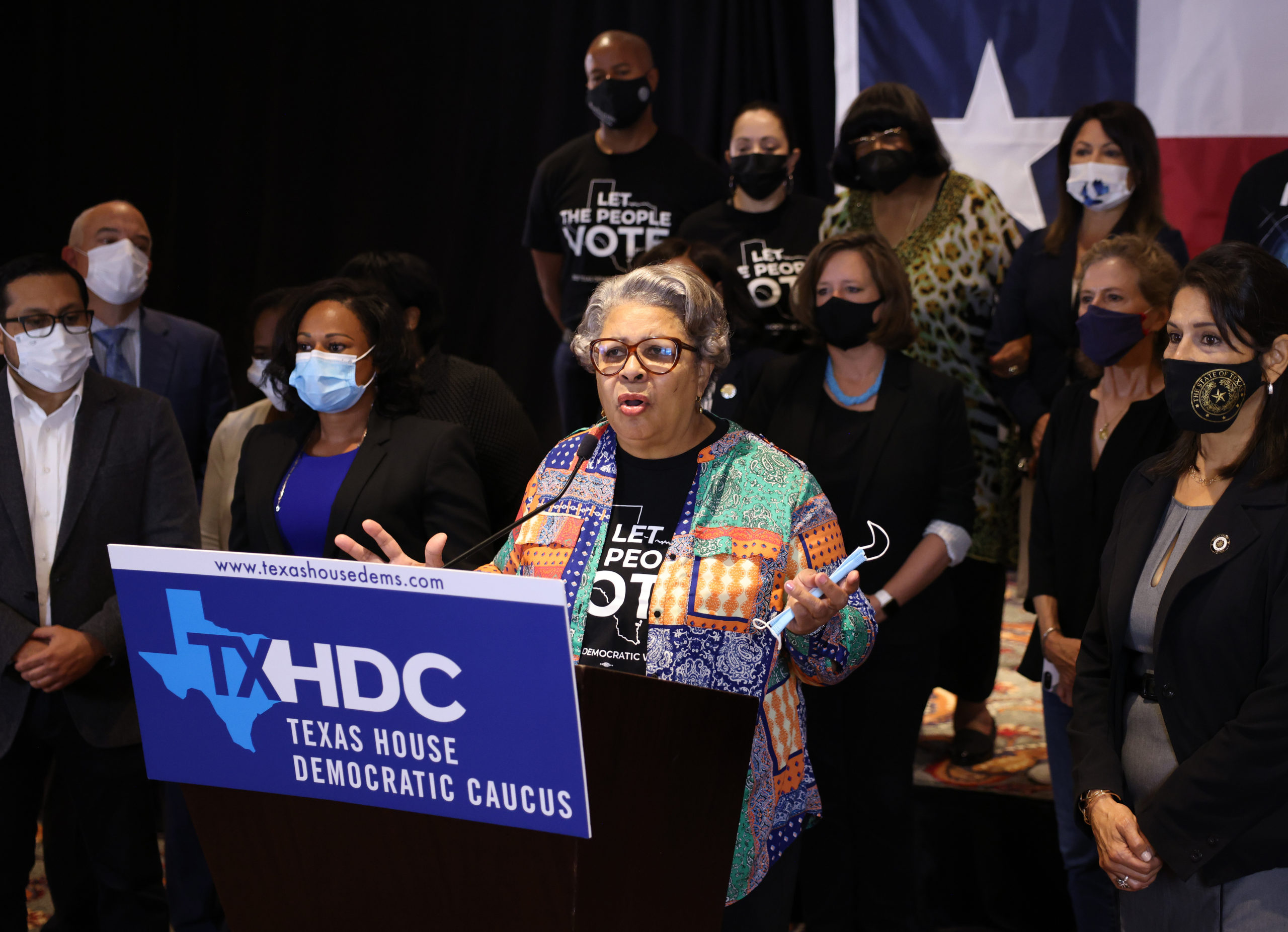 Texas State Rep. Senfronia Thompson (D-District 141), joined by fellow Texas state representatives, speaks at a press conference on voting rights, on July 30, 2021 in Washington, DC. (Photo by Kevin Dietsch/Getty Images)
