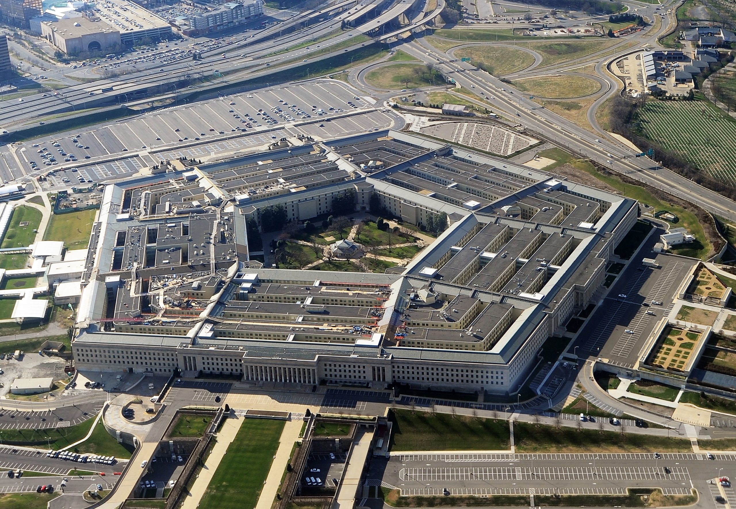 This picture taken 26 December 2011 shows the Pentagon building in Washington, DC. The Pentagon, which is the headquarters of the United States Department of Defense (DOD), is the world's largest office building by floor area, with about 6,500,000 sq ft (600,000 m2), of which 3,700,000 sq ft (340,000 m2) are used as offices. Approximately 23,000 military and civilian employees and about 3,000 non-defense support personnel work in the Pentagon. AFP PHOTO (Photo by STAFF / AFP) (Photo by STAFF/AFP via Getty Images)