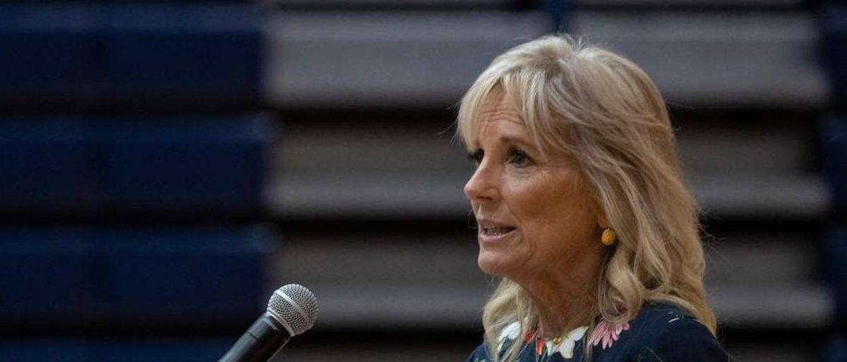 US First Lady Jill Biden speaks at a vaccination facility at Alfred E. Beach High School in Savannah, Georgia, on July 8, 2021. - First Lady Biden will be visiting a vaccination facility in Savannah, Georgia and then will travel to Orlando, Florida to attend the 2021 Scripps National Spelling Bee Finals. (Photo by JIM WATSON/POOL/AFP via Getty Images)