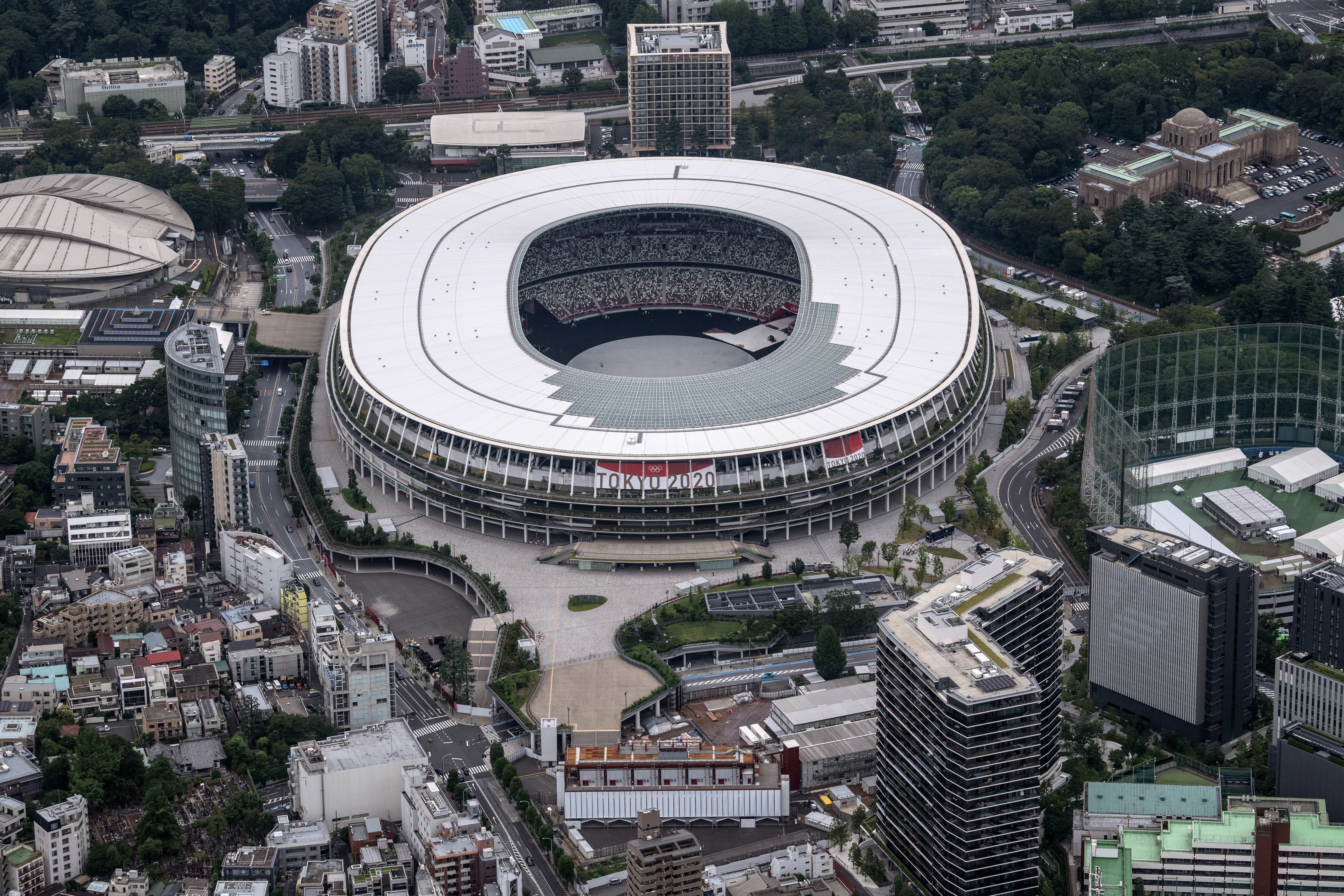 The Tokyo Olympic Stadium is pictured from a helicopter on June 26, 2021 in Tokyo, Japan. With less than one month to go before the start of the Tokyo Olympic Games, final preparations are being made to venues despite ongoing concern over the viability of holding the event during the global coronavirus pandemic. (Photo by Carl Court/Getty Images)