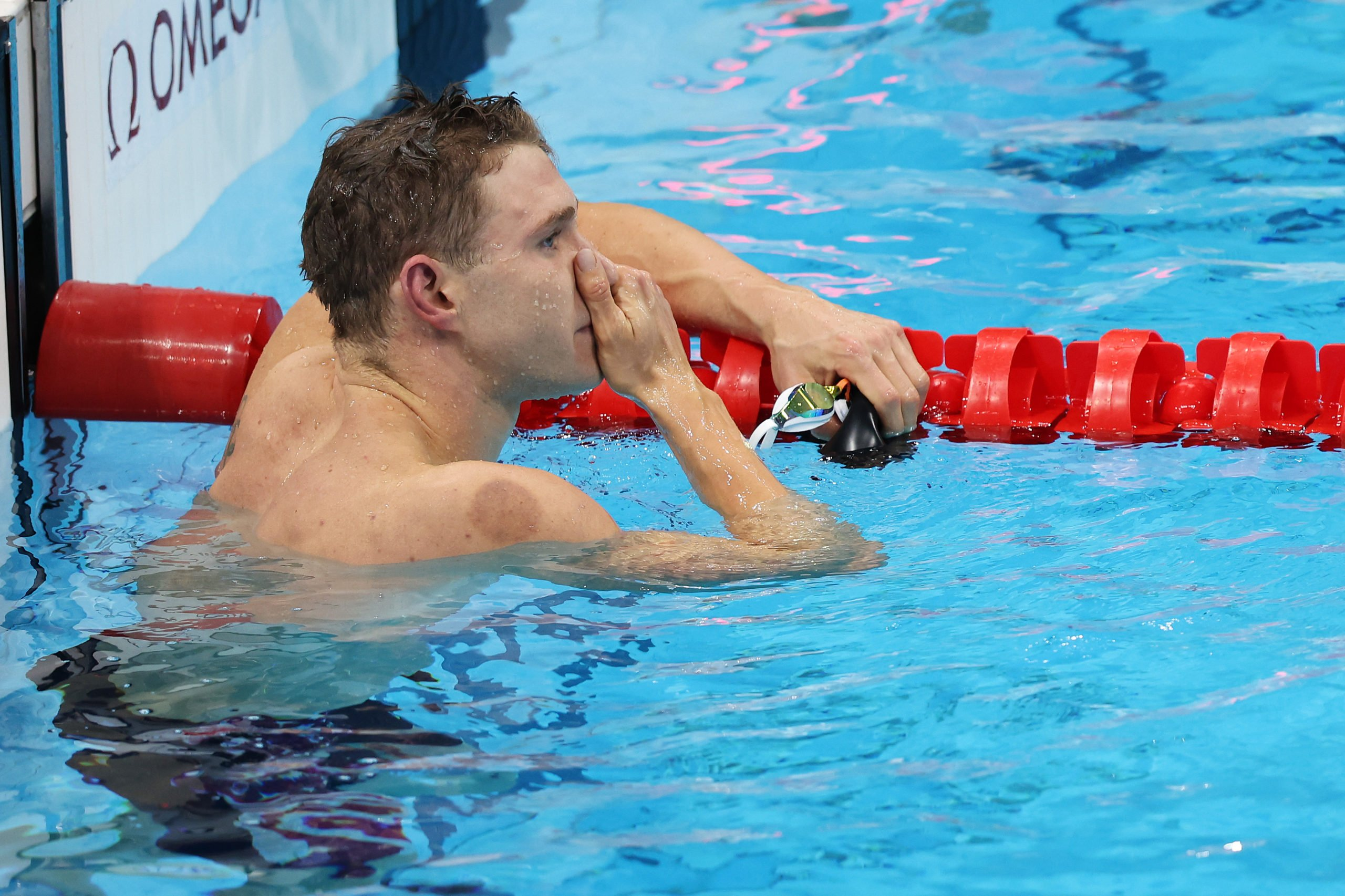 Ryan Murphy of Team United States reacts after competing in the Men's 200m Backstroke Final on day seven of the Tokyo 2020 Olympic Games at Tokyo Aquatics Centre on July 30, 2021 in Tokyo, Japan. (Photo by Tom Pennington/Getty Images)