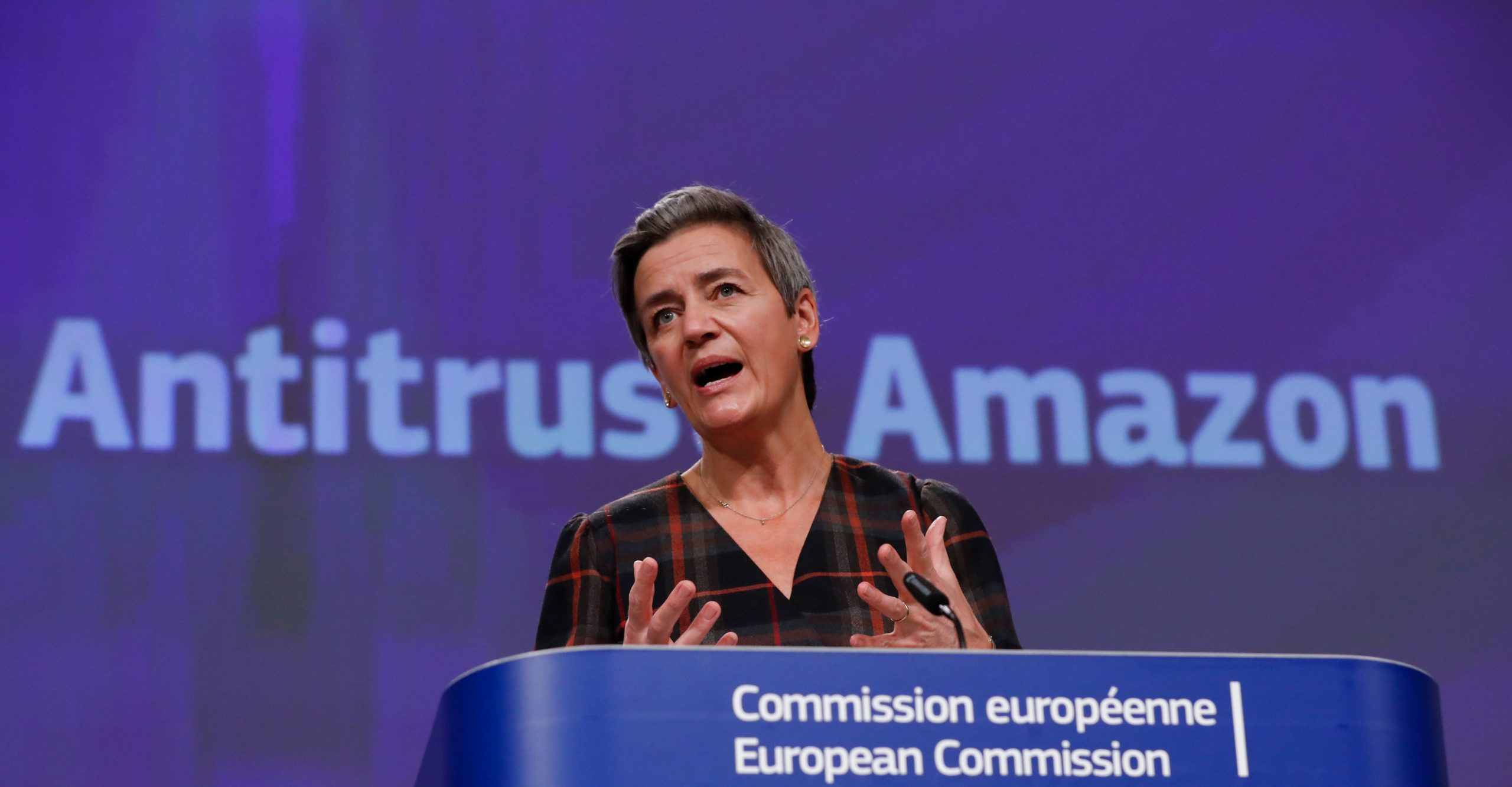 European Executive Vice-President Margrethe Vestager gives a press conference on an anti-trust case with Amazon. (Photo by OLIVIER HOSLET/POOL/AFP via Getty Images)