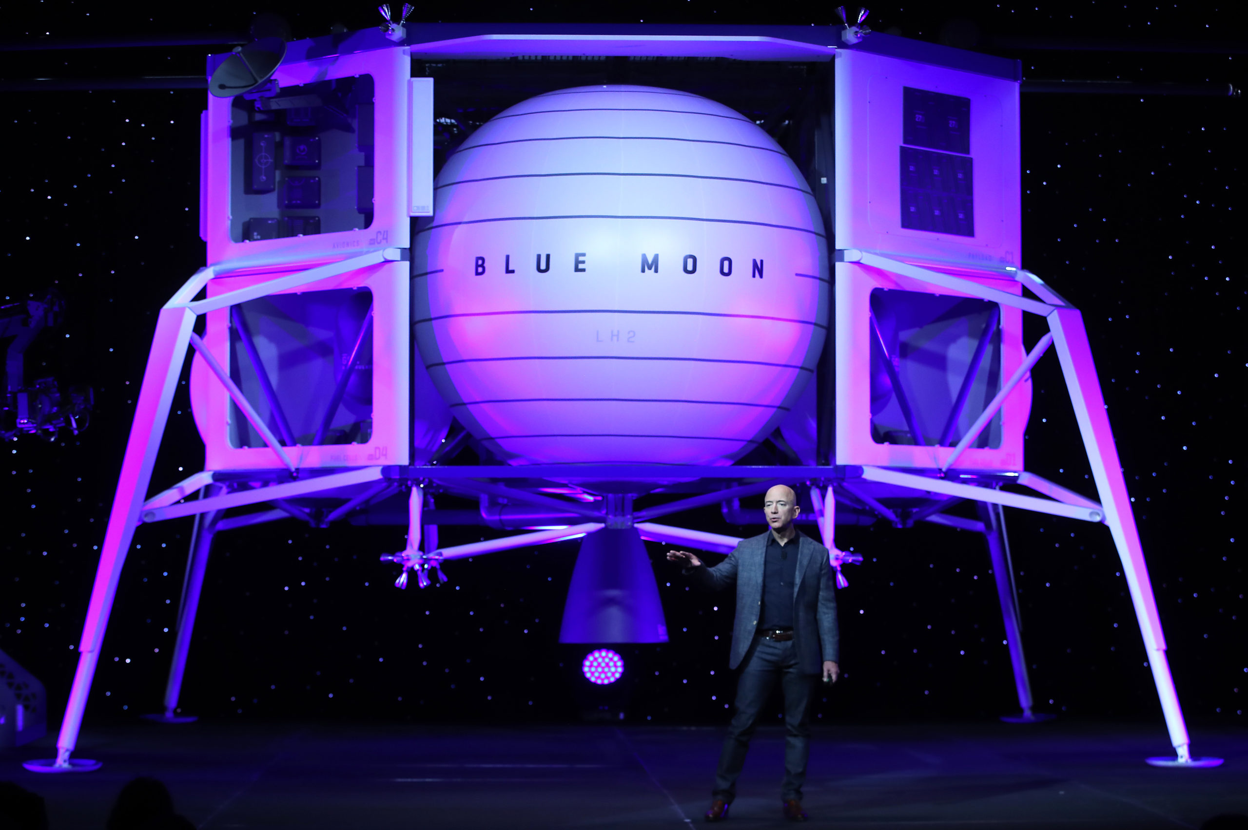 Jeff Bezos, owner of Blue Origin, introduces a new lunar landing module called Blue Moon during an event at the Washington Convention Center, May 9, 2019 in Washington, DC. (Photo by Mark Wilson/Getty Images)