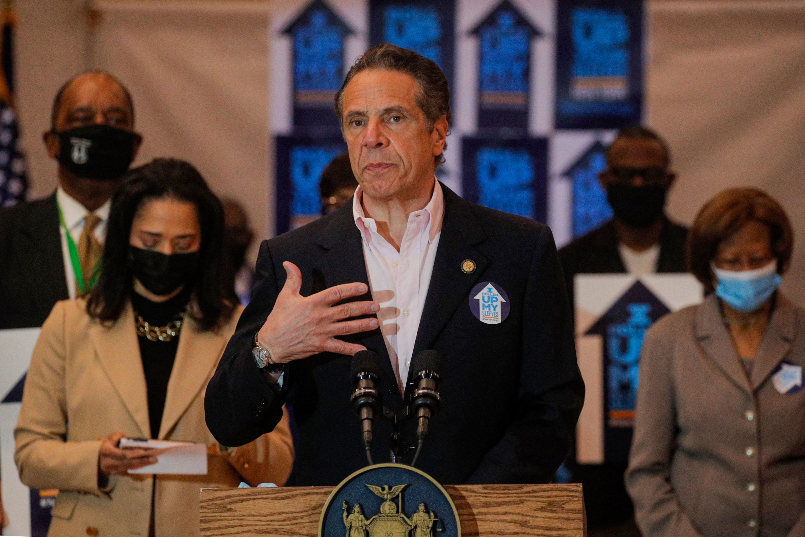 New York Governor Andrew Cuomo speaks at Rochdale Village Community Center in Queens, New York. (Photo by BRENDAN MCDERMID/AFP via Getty Images)