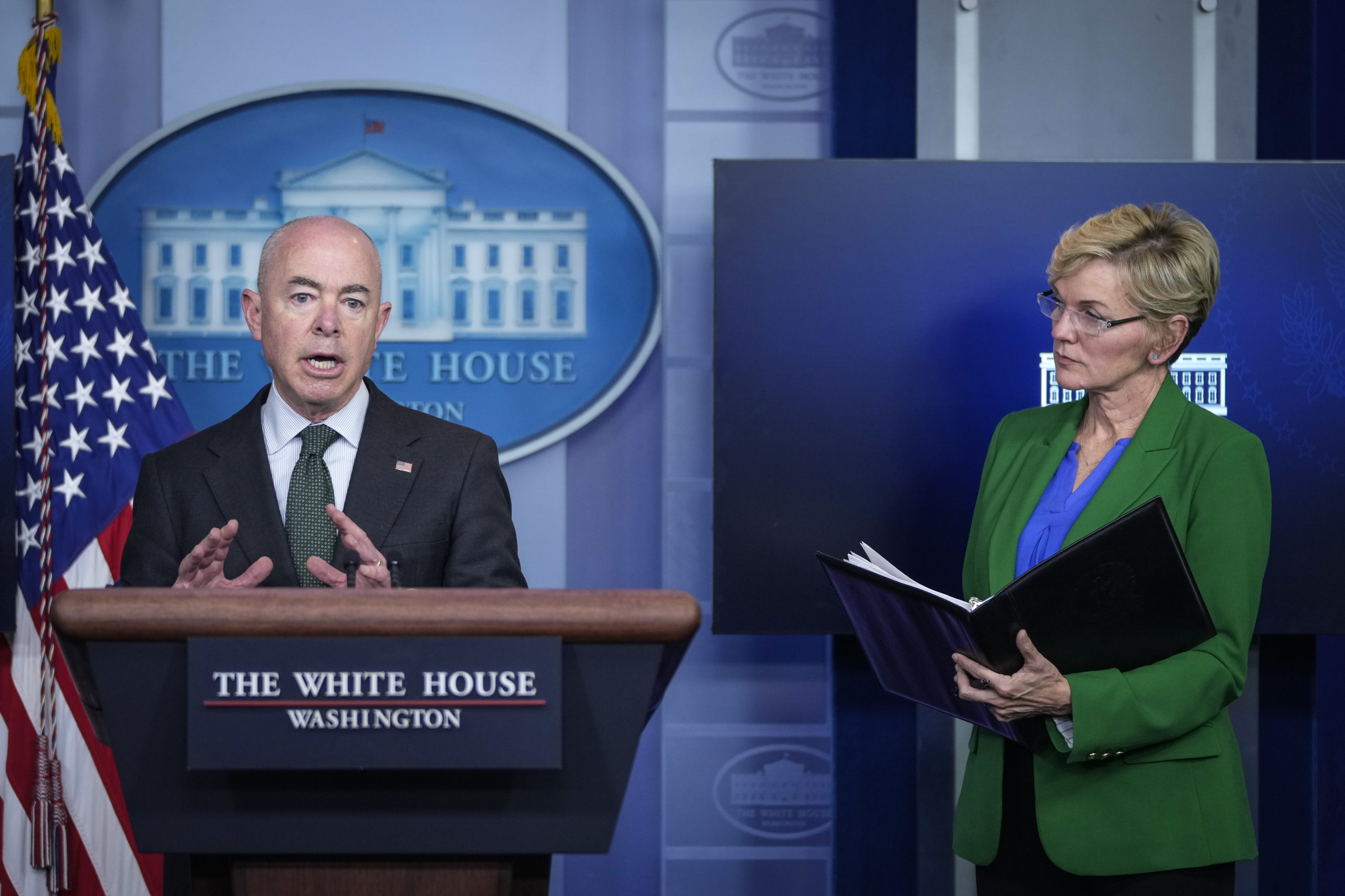 Secretary of Homeland Security Alejandro Mayorkas and Secretary of Energy Jennifer Granholm brief reporters on the cyber attack on the Colonial Pipeline. (Photo by Drew Angerer/Getty Images)