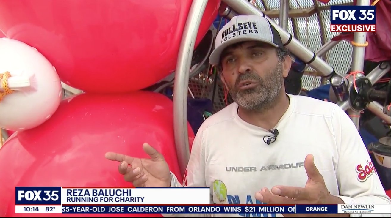 Reza Baluchi does an interview with Fox News after washing ashore in his floating contraption (Screenshot/Fox News)