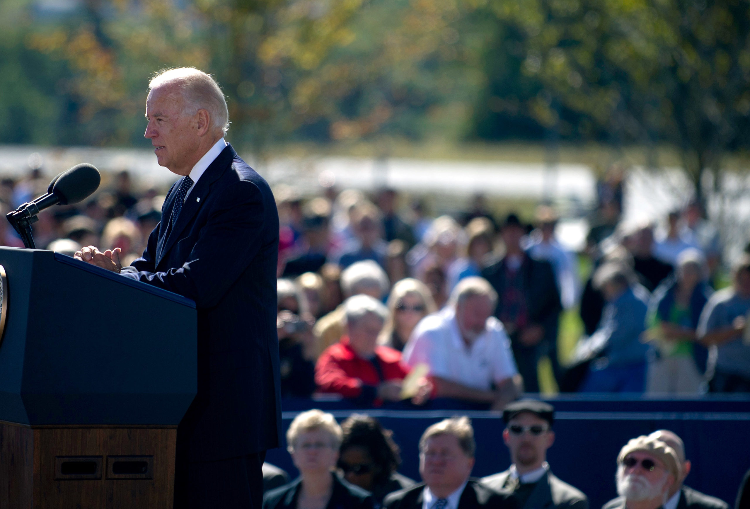 Joseph Biden speaks at the Flight 93 National Memorial during observances commemorating the eleventh anniversary of the 9/11 attacks. (Photo by Jeff Swensen/Getty Images)