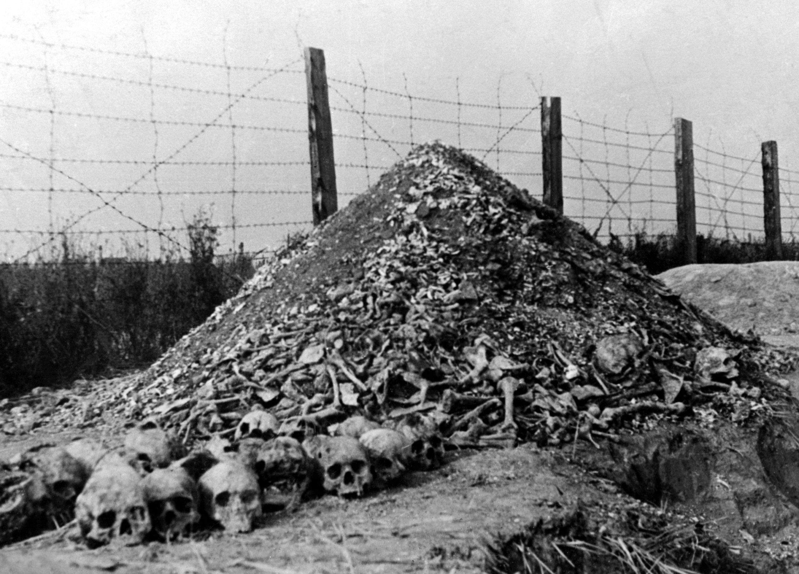 A pile of human bones and skulls is seen in 1944 at the Nazi concentration camp of Majdanek in the outskirts of Lublin, the second largest death camp in Poland after Auschwitz, following its liberation in 1944 by Russian troops. (AFP via Getty Images)