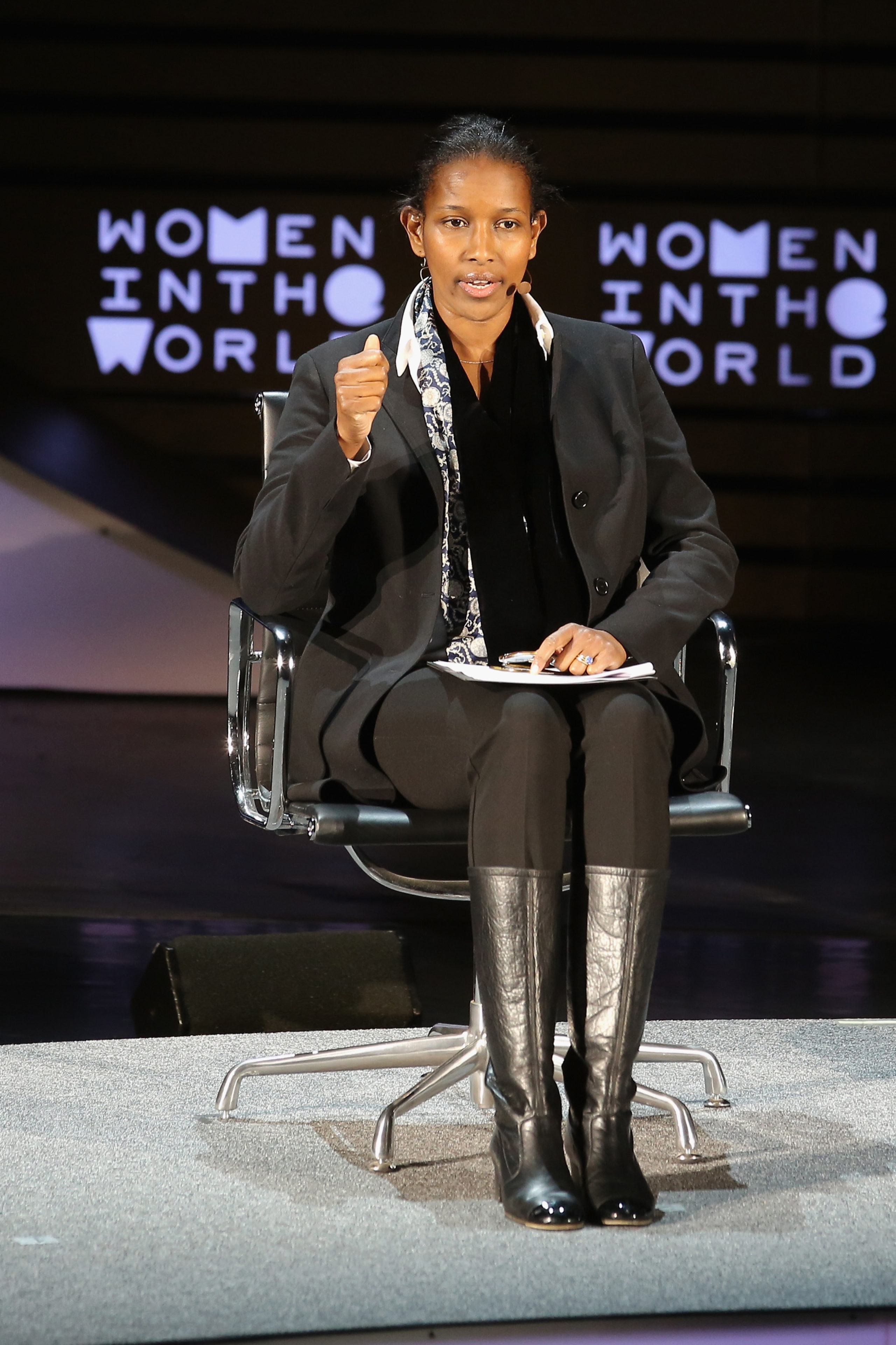 Ayaan Hirsi Ali speaks onstage at What is the Future for Women in Islam during Tina Brown's 7th Annual Women In The World Summit at David H. Koch Theater at Lincoln Center on April 7, 2016 in New York City. (Photo by Jemal Countess/Getty Images)