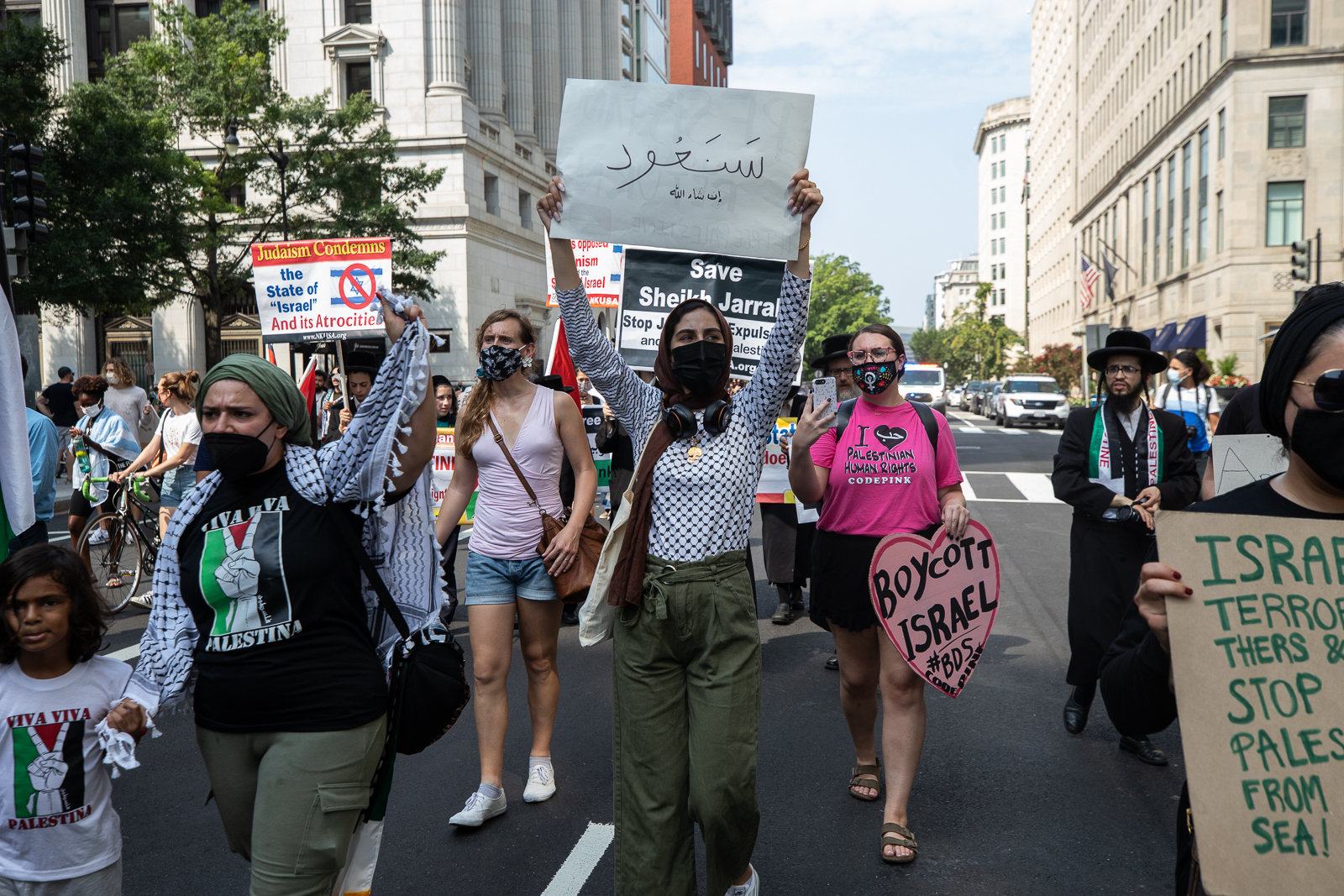Demonstrators marched in protest of President Joe Biden's meeting with Israeli Prime Minister Naftali Bennett in Washington, D.C. on August 26, 2021. (Kaylee Greenlee - Daily Caller News Foundation)