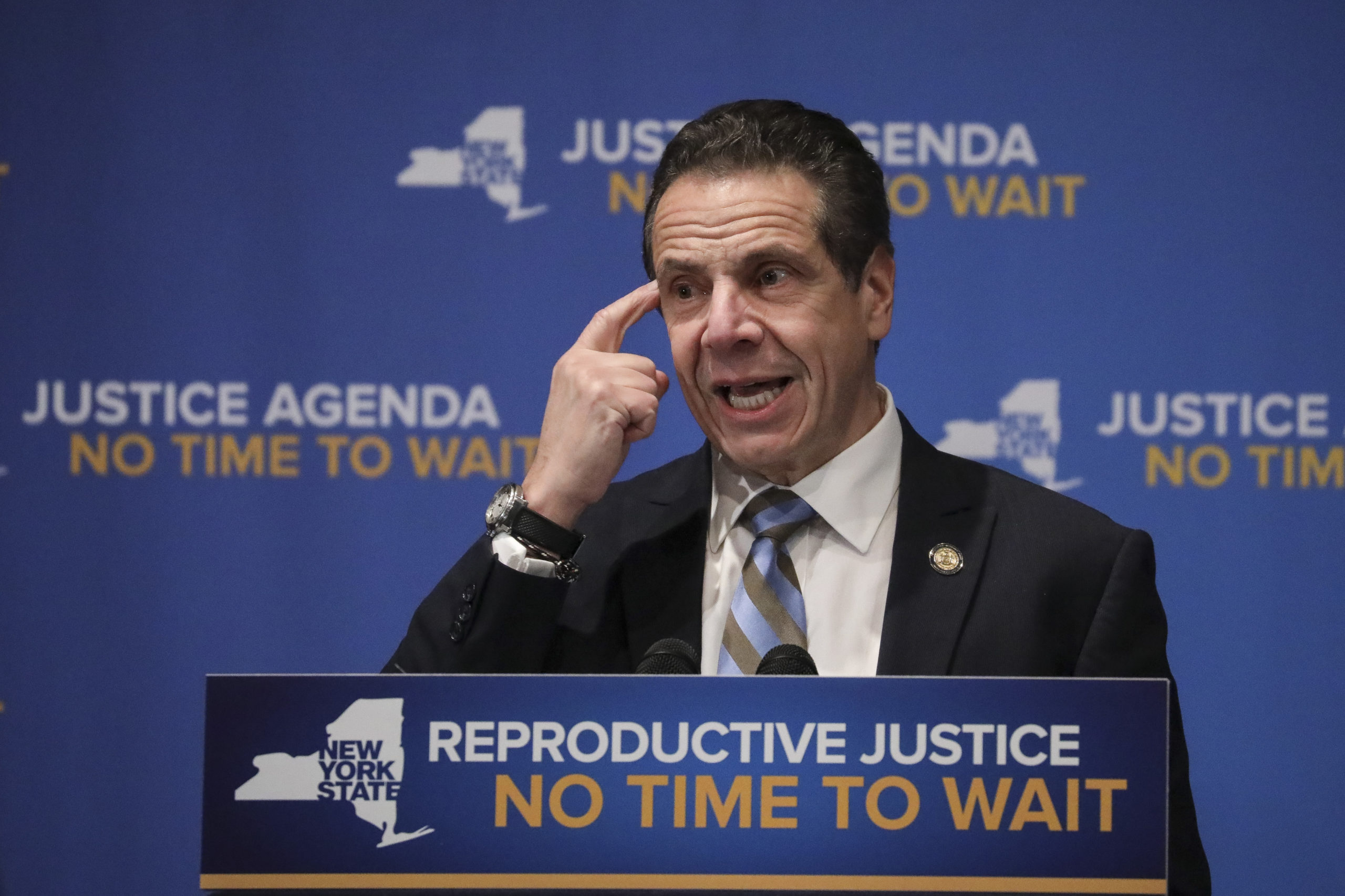 NEW YORK, NY - JANUARY 7: New York Governor Andrew Cuomo speaks about reproductive rights at Barnard College, January 7, 2019 in New York City. (Photo by Drew Angerer/Getty Images)