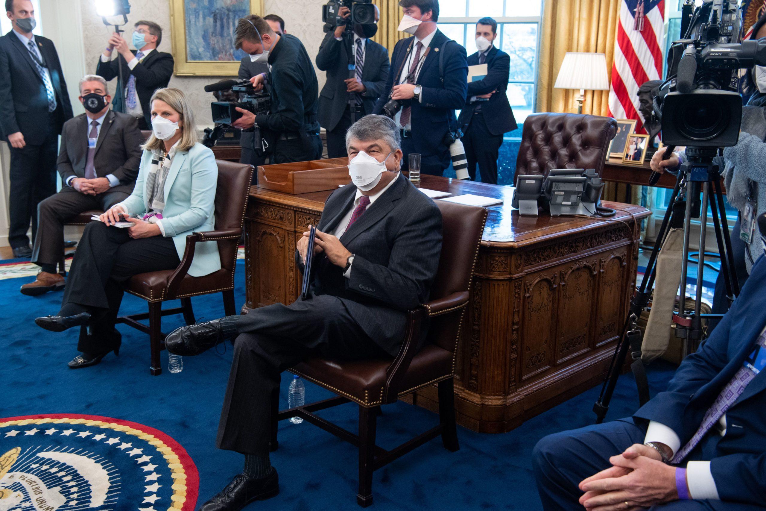 AFL-CIO President Richard Trumka attends a meeting with President Joe Biden on Feb. 17. (Saul Loeb/AFP via Getty Images)