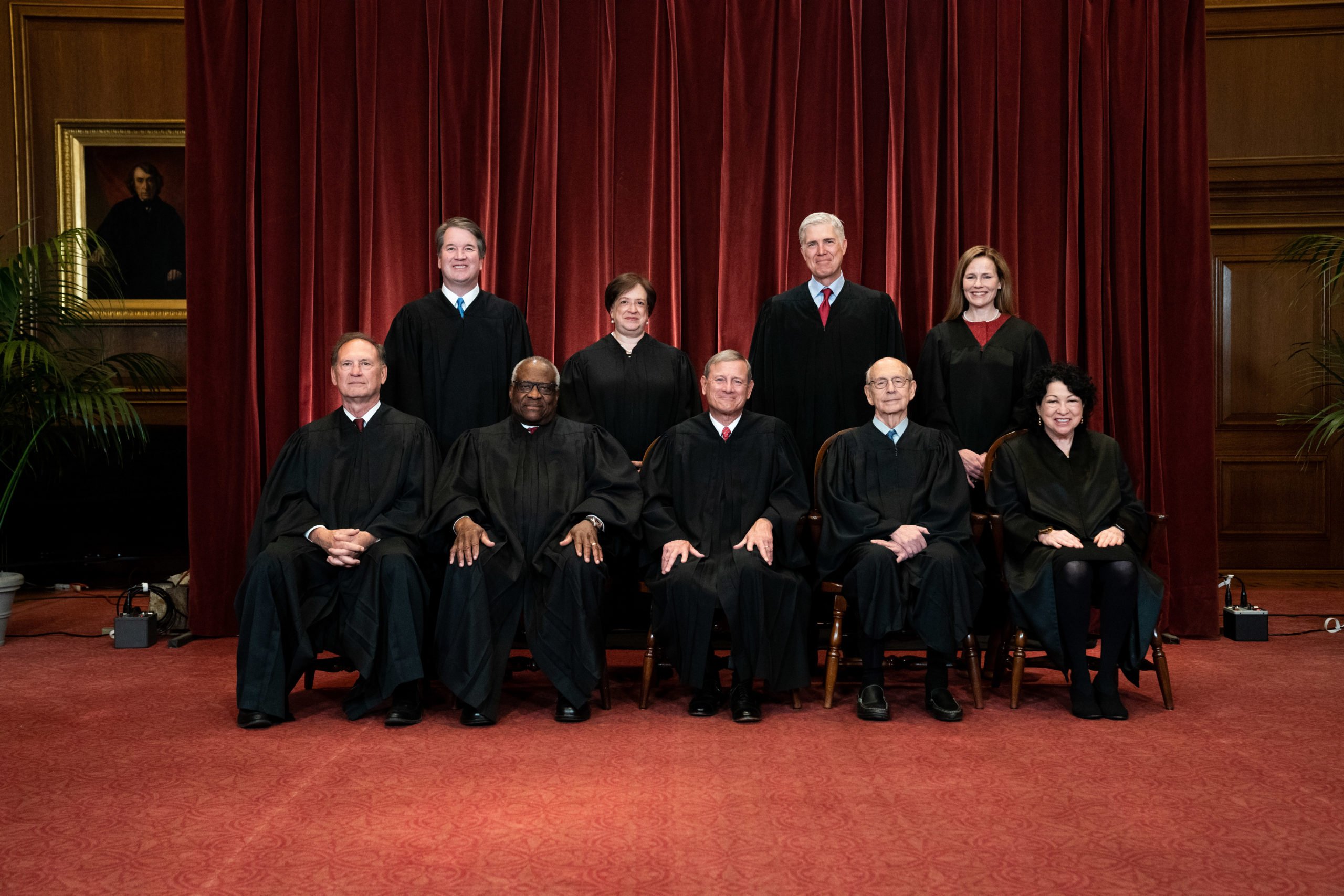 WASHINGTON, DC - APRIL 23: Members of the Supreme Court pose for a group photo at the Supreme Court in Washington, DC on April 23, 2021. Seated from left: Associate Justice Samuel Alito, Associate Justice Clarence Thomas, Chief Justice John Roberts, Associate Justice Stephen Breyer and Associate Justice Sonia Sotomayor, Standing from left: Associate Justice Brett Kavanaugh, Associate Justice Elena Kagan, Associate Justice Neil Gorsuch and Associate Justice Amy Coney Barrett. (Photo by Erin Schaff-Pool/Getty Images)