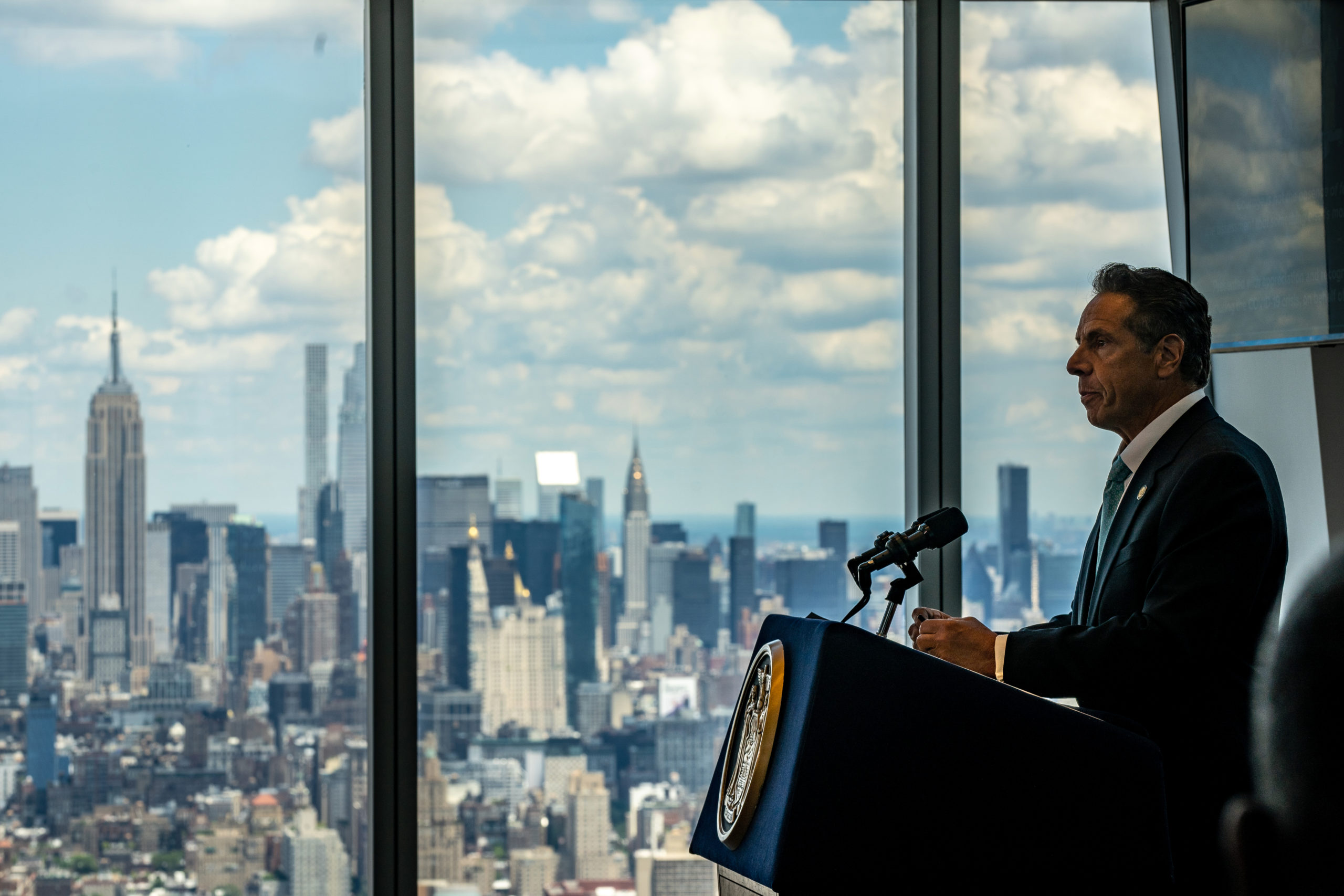 New York Gov. Andrew Cuomo speaks during a press conference at One World Trade Center on June 15, 2021 in New York City. (Photo by David Dee Delgado/Getty Images)