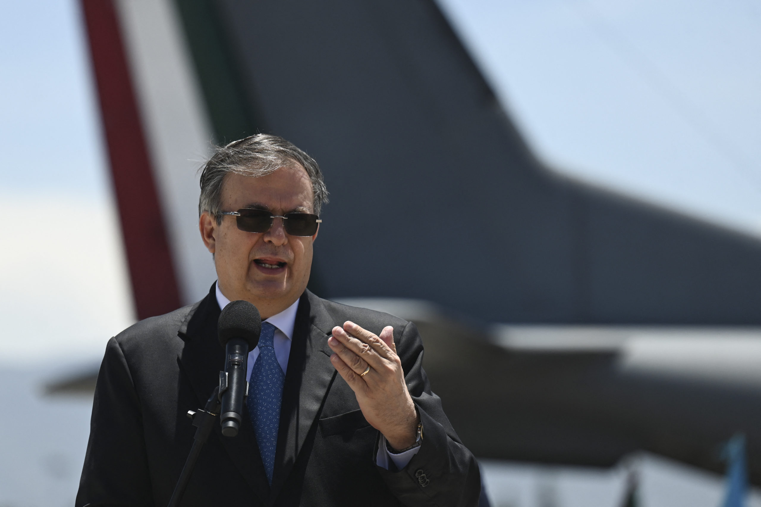 Mexican Foreign Minister Marcelo Ebrard speaks upon his arrival at the Air Force Base in Guatemala City, on June 24, 2021. (Photo by JOHAN ORDONEZ/AFP via Getty Images)