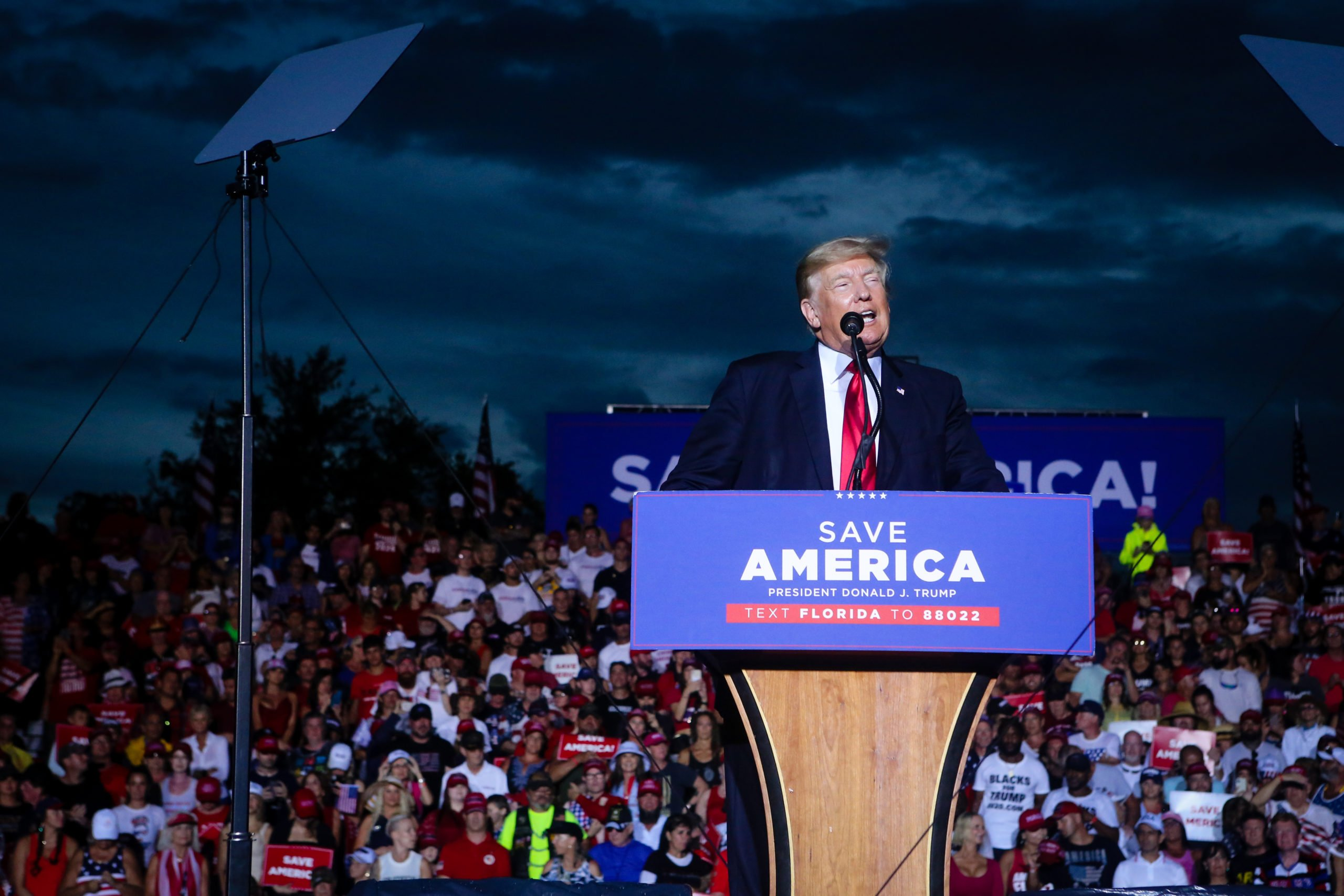 SARASOTA, FL - JULY 03: Former U.S. President Donald Trump speaks during a rally on July 3, 2021 in Sarasota, Florida. Co-sponsored by the Republican Party of Florida, the rally marks Trump's further support of the MAGA agenda and accomplishments of his administration. (Photo by Eva Marie Uzcategui/Getty Images)