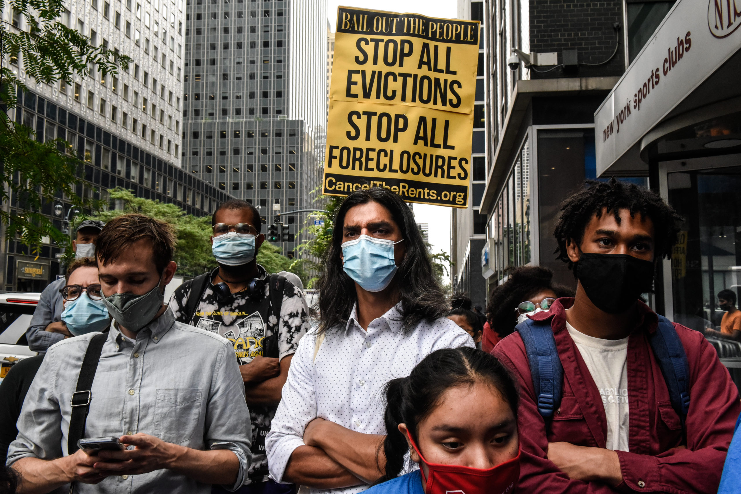 People participate in a protest for a moratorium on evictions on Wednesday in New York City. (Stephanie Keith/Getty Images)