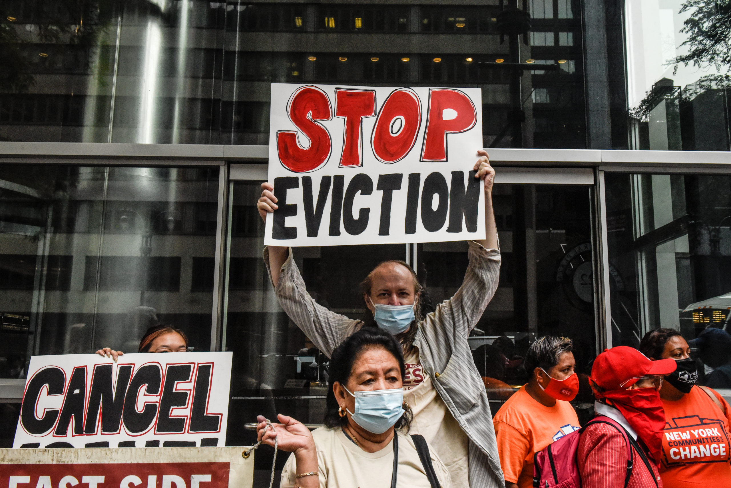 People participate in a protest for a new eviction moratorium on Aug. 4 in New York City. (Stephanie Keith/Getty Images)