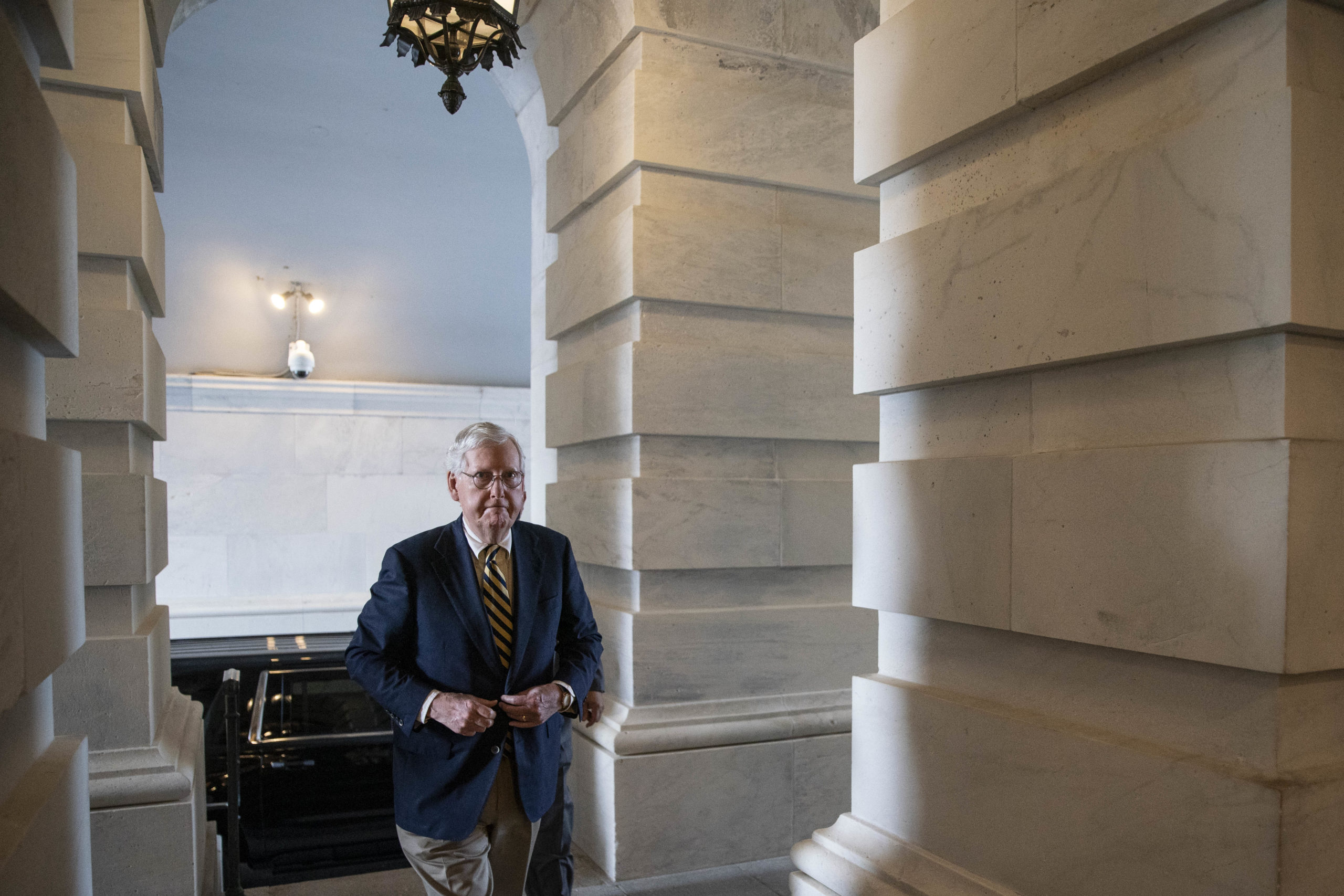 Senate Minority Leader Mitch McConnell arrives to the Capitol Saturday during a rare weekend session. (Sarah Silbiger/Getty Images)