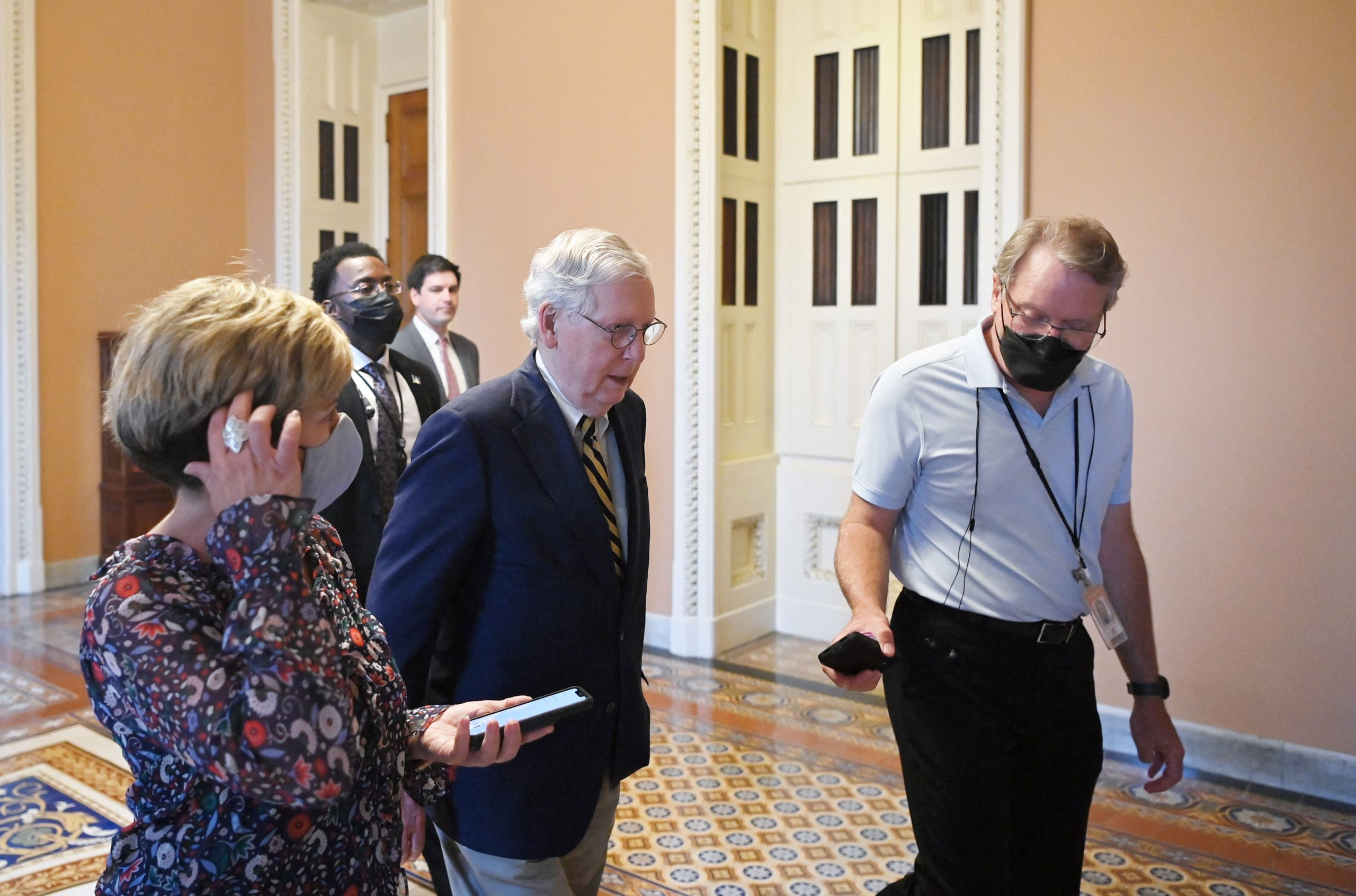 Senate Minority Leader Mitch McConnell arrives at the Capitol on Saturday. (Mandel Ngan/AFP via Getty Images)