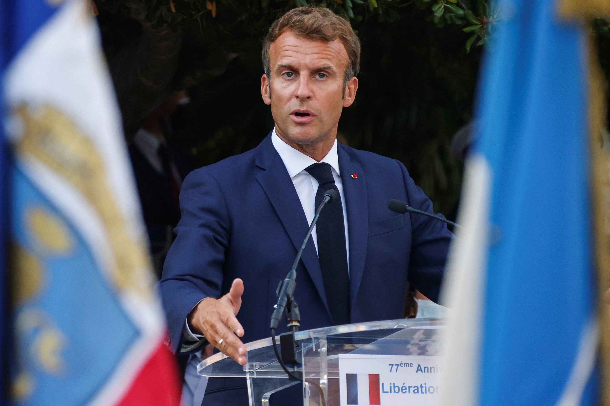 French President Emmanuel Macron delivers a speech on Tuesday. (Eric Gaillard/Pool/AFP via Getty Images)