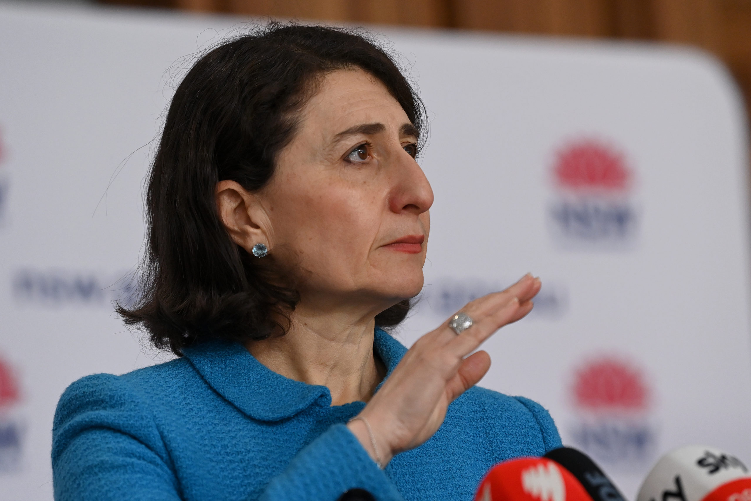 SYDNEY, AUSTRALIA - AUGUST 26: NSW Premier Gladys Berejiklian speaks to the media during a press conference to provide a COVID-19 update on August 26, 2021 in Sydney, Australia. NSW recorded 1029 new locally acquired cases of COVID-19 as the entire state continues in lockdown. (Photo by Bianca De Marchi - Pool/Getty Images)