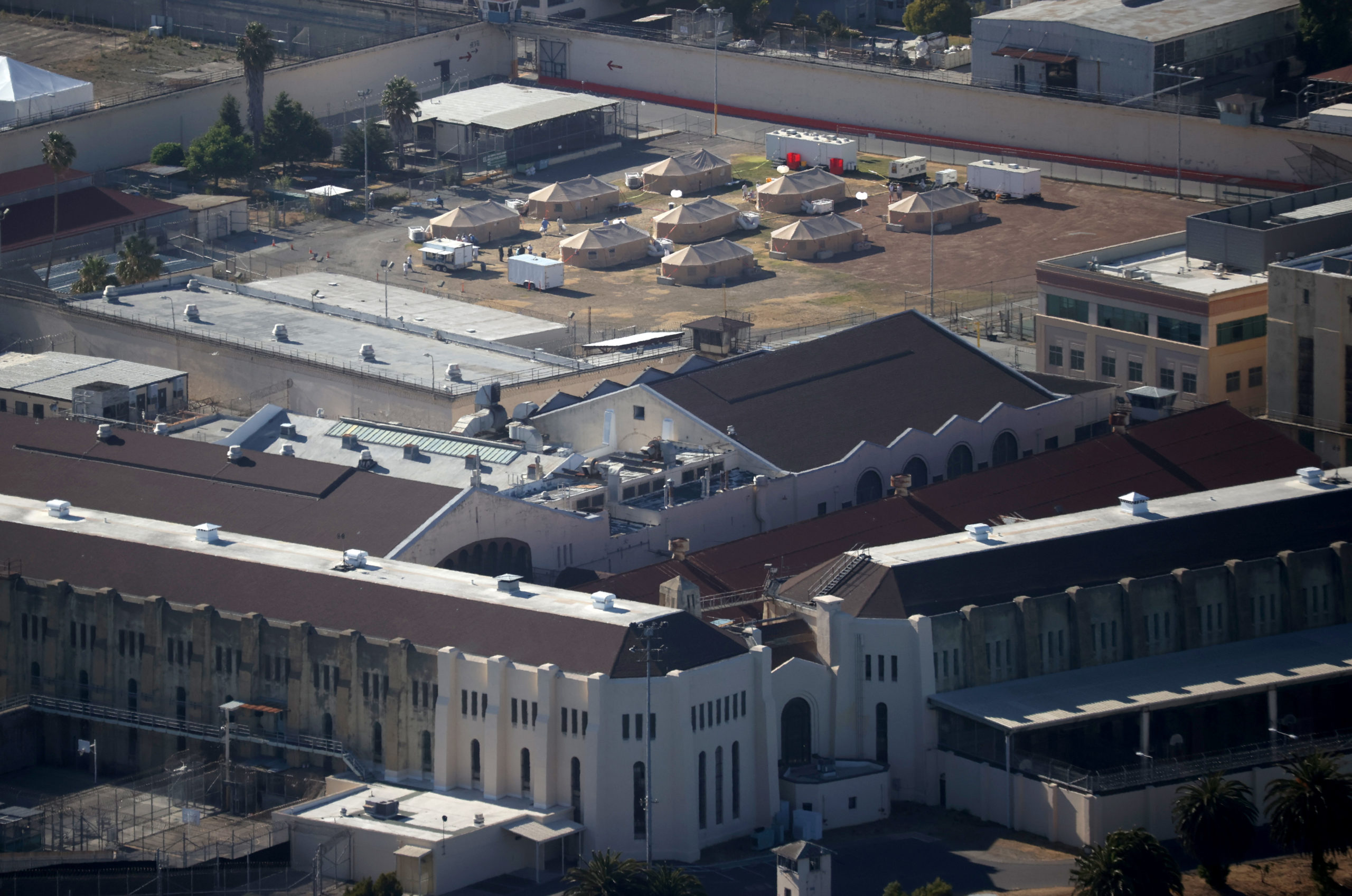 A view of a new emergency care facility that was erected to treat inmates infected with COVID-19 at San Quentin State Prison on July 08, 2020 in San Quentin, California. (Justin Sullivan/Getty Images)