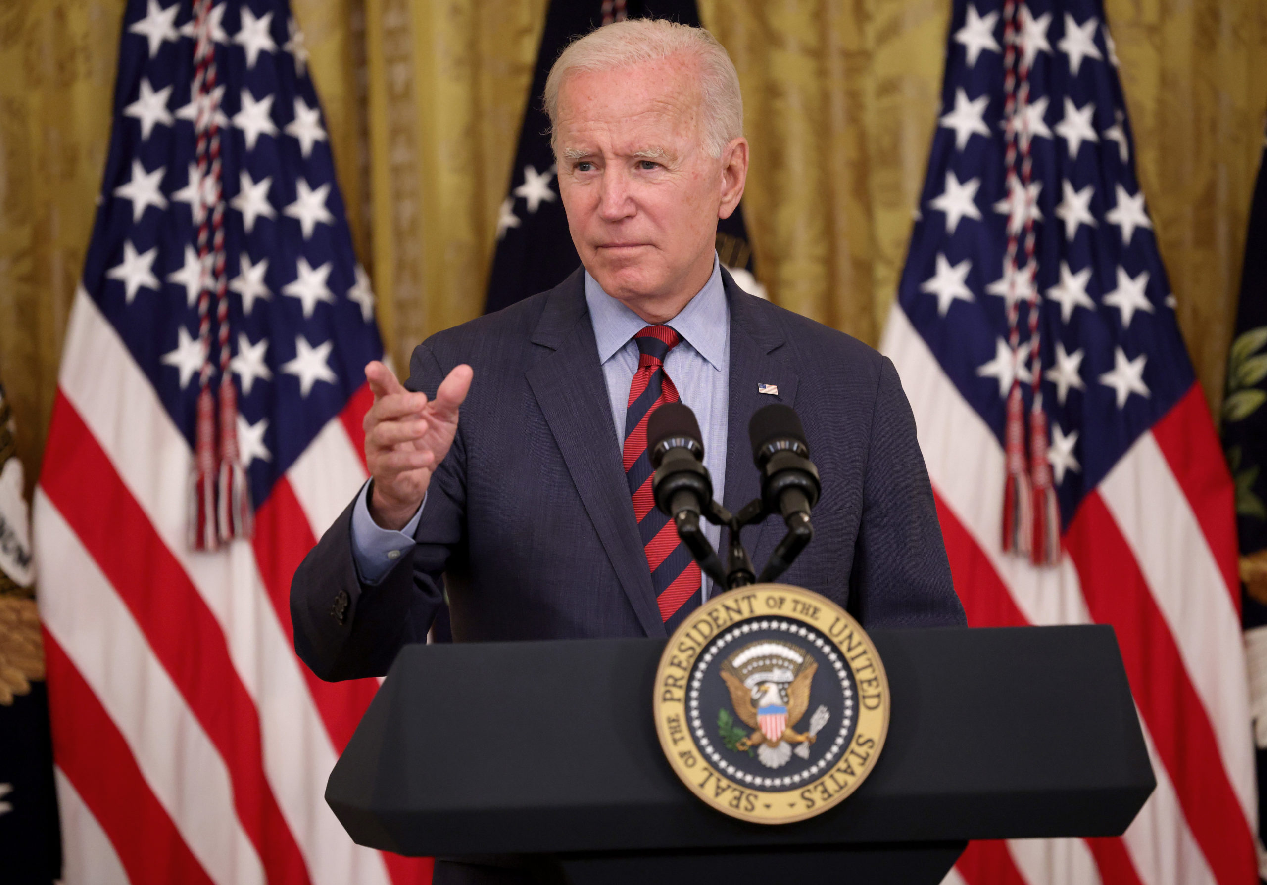 WASHINGTON, DC - AUGUST 03: U.S. President Joe Biden takes questions during an event in the East Room of the White House where he addressed the importance of people getting a COVID-19 vaccination August 3, 2021 in Washington, DC. Biden also said New York Gov. Andrew Cuomo should resign following a state investigation that found Cuomo has sexually harassed multiple women. (Photo by Win McNamee/Getty Images)