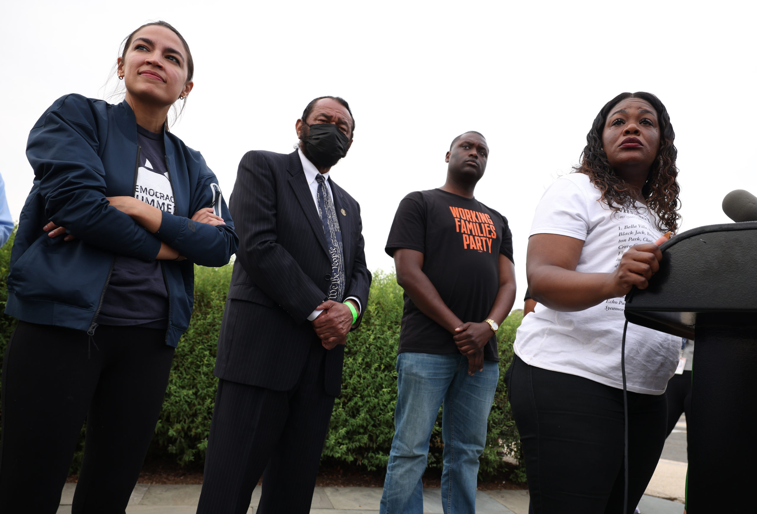Reps. Cori Bush, Mondaire Jones, Al Green and Alexandria Ocasio-Cortez hold a news conference about the eviction moratorium on Tuesday. (Kevin Dietsch/Getty Images)