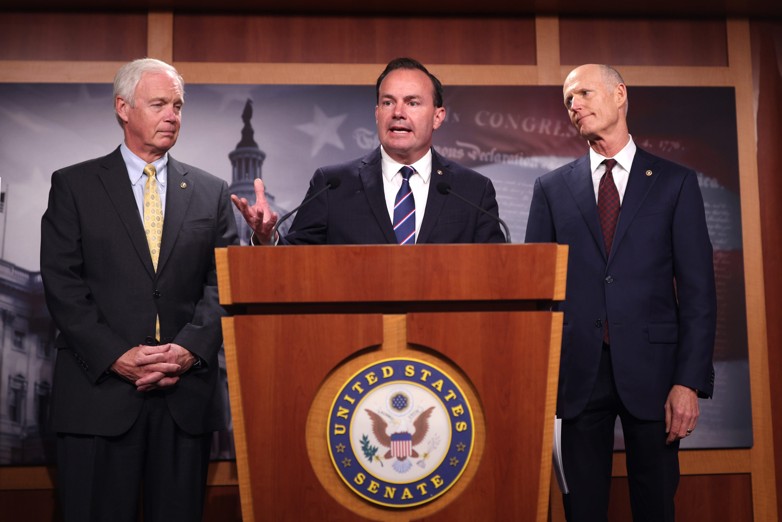 Republican Sens. Ron Johnson, Mike Lee and Sen. Rick Scott speak on an infrastructure bill making its way through Congress, saying it will increase the debt, inflation and taxes. (Kevin Dietsch/Getty Images)