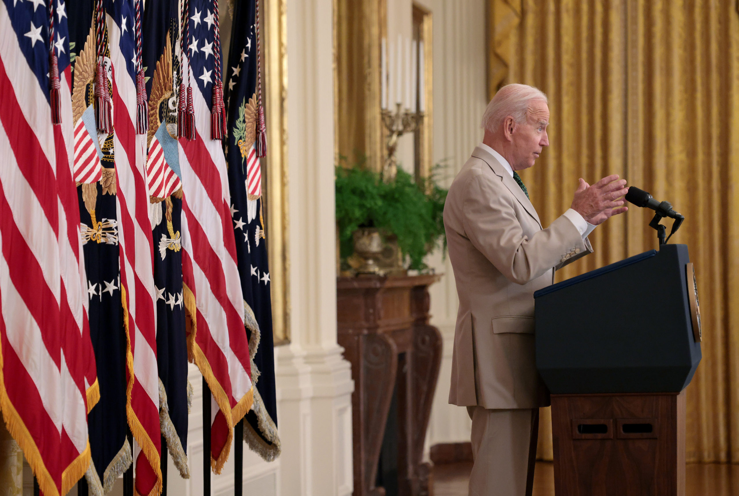 President Joe Biden speaks about the July jobs numbers on Friday. (Win McNamee/Getty Images)