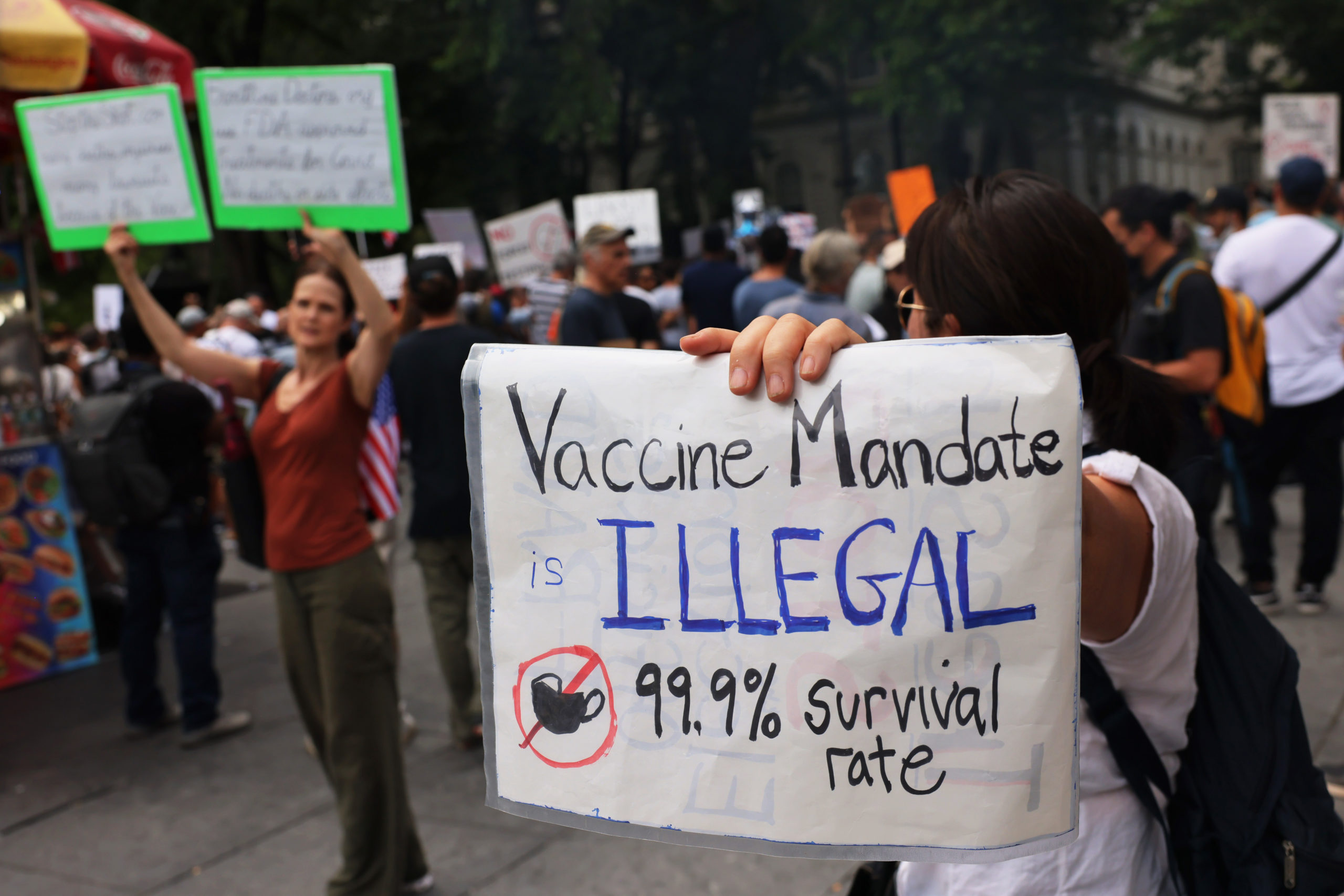 People protest vaccine mandates on in New York City on Aug. 9. (Michael M. Santiago/Getty Images)