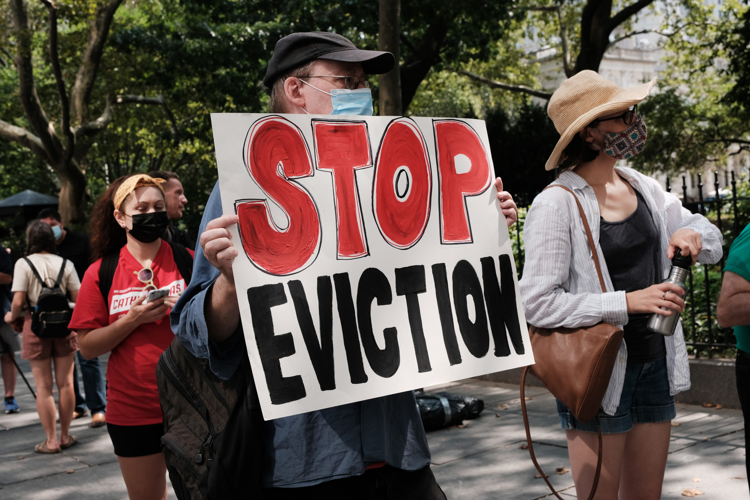 Activists hold a protest against evictions on Aug. 11 in New York City. (Spencer Platt/Getty Images)