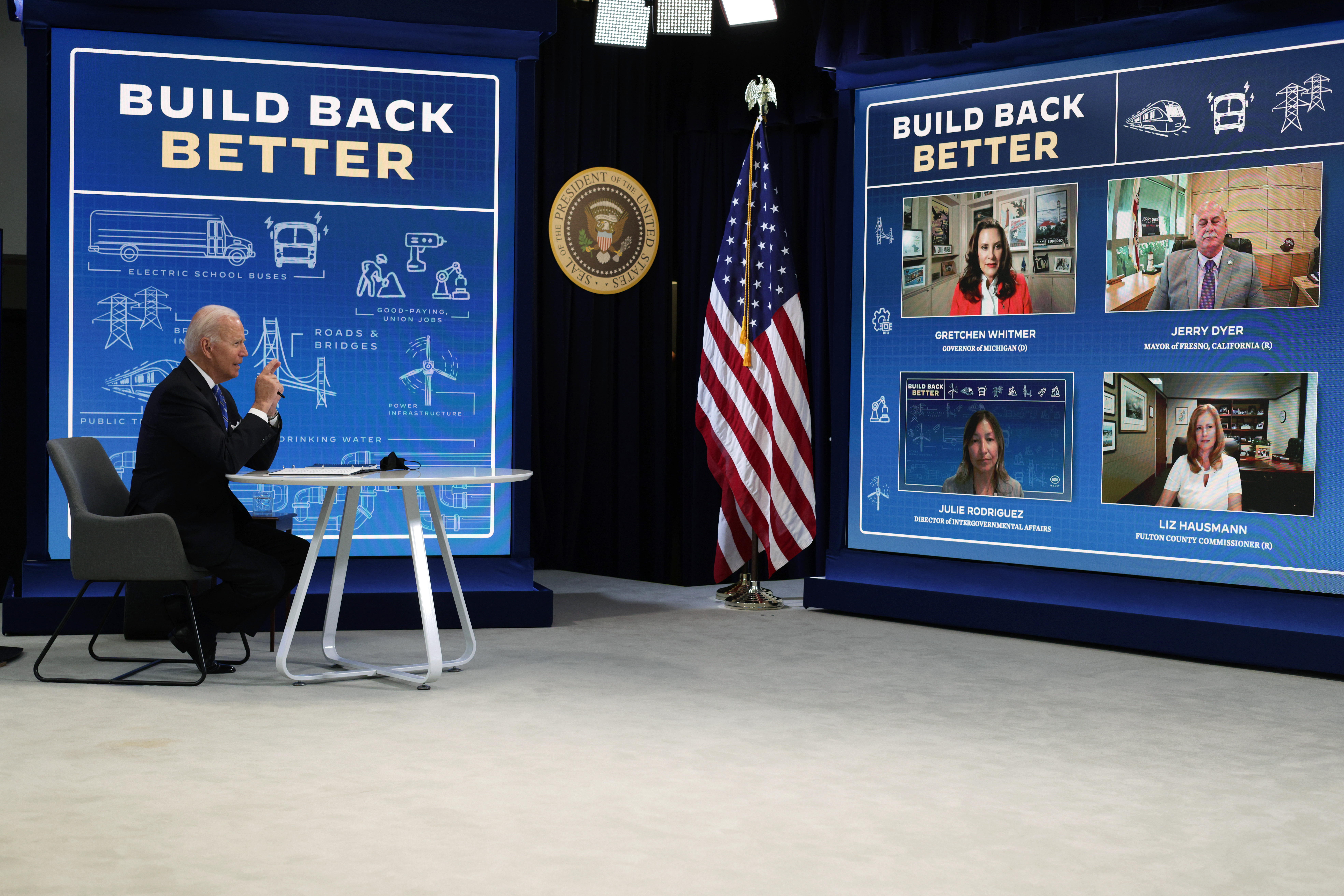 President Joe Biden speaks during a virtual meeting about his economic agenda with local officials on Wednesday. (Alex Wong/Getty Images)