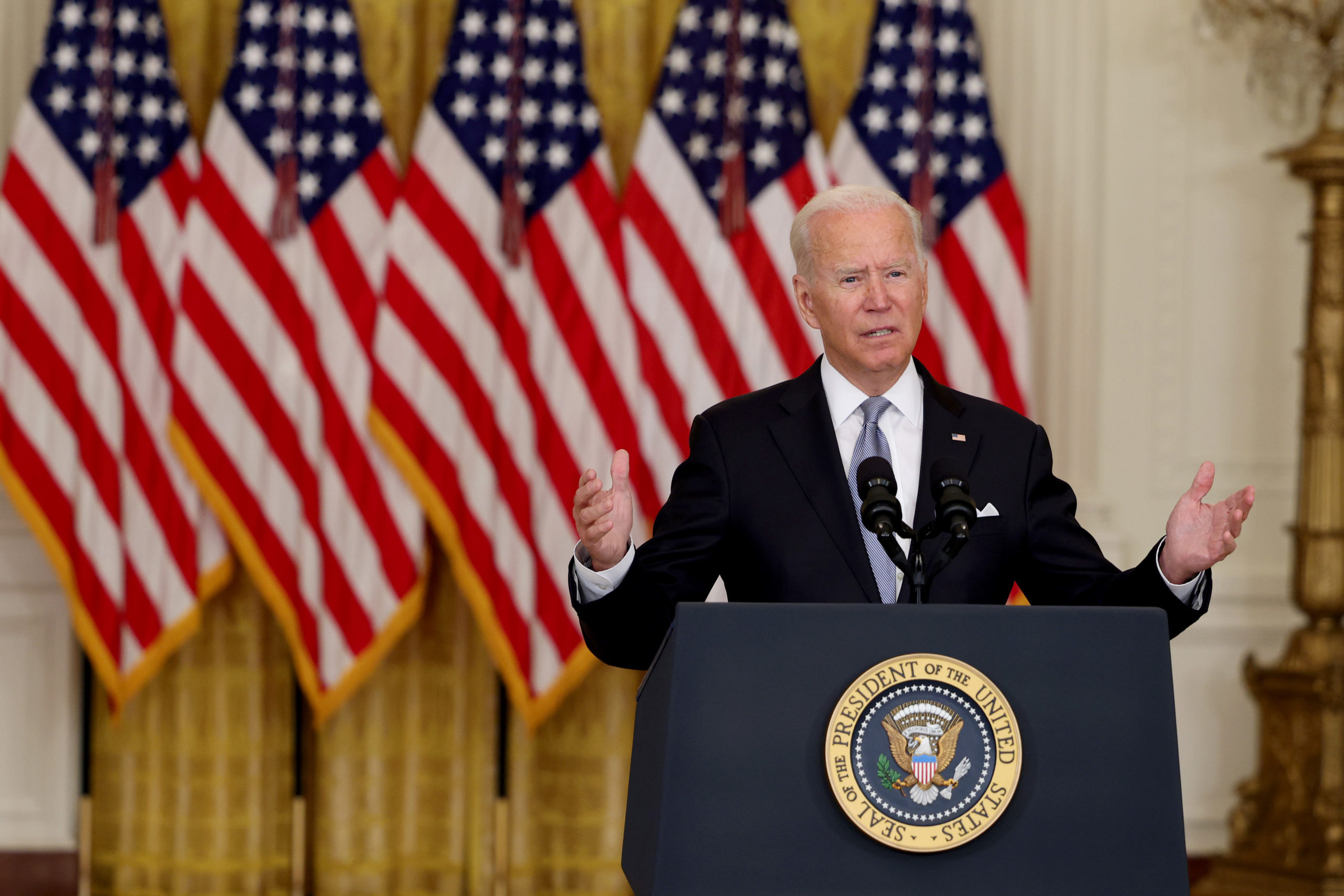 President Joe Biden gives remarks the Afghanistan withdrawal from the East Room of the White House on Monday. (Anna Moneymaker/Getty Images)