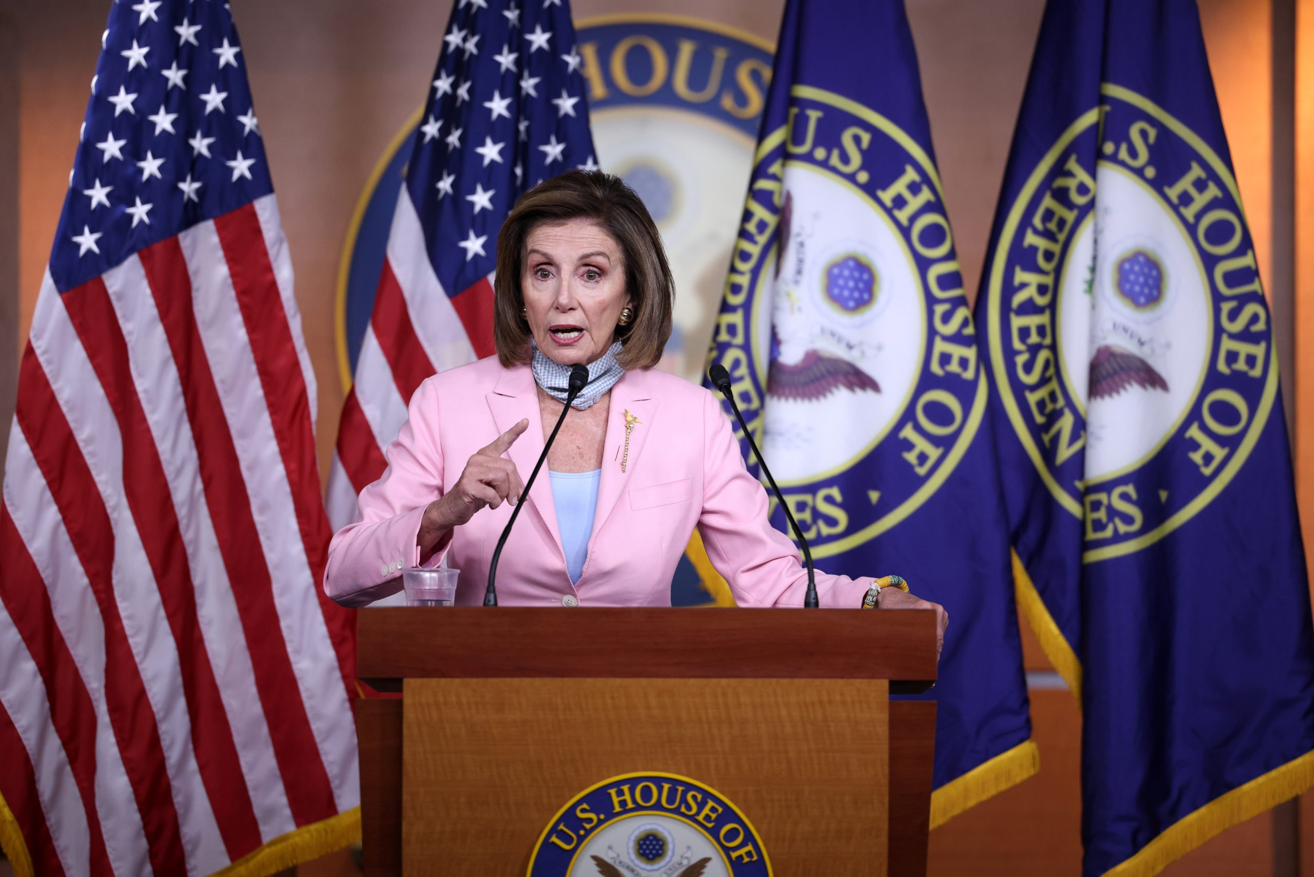 Speaker Nancy Pelosi speaks on August 25 at the Capitol after the House advanced the budget and infrastructure bill. (Kevin Dietsch/Getty Images)