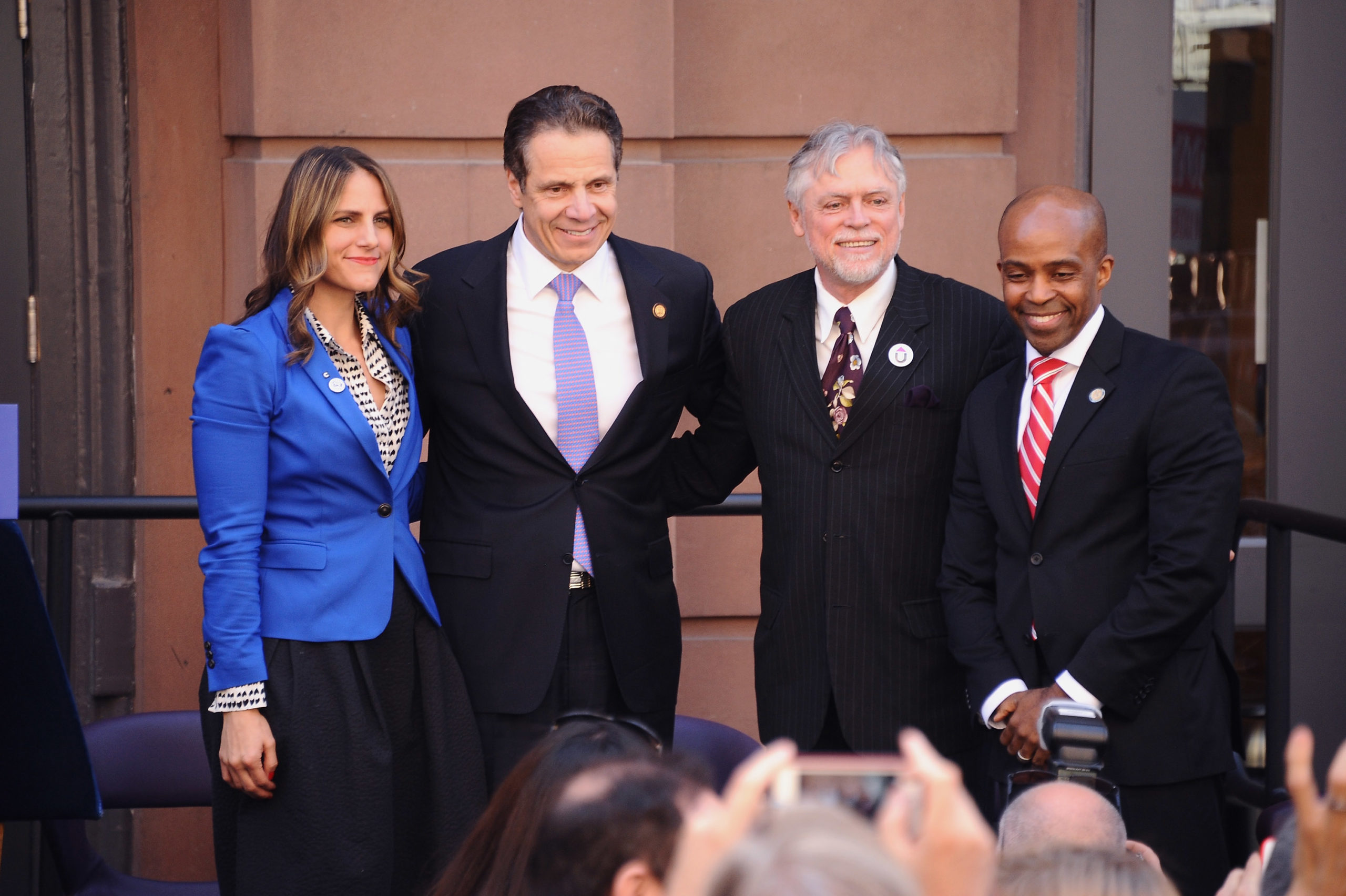NEW YORK, NY - APRIL 29: (L-R) Glennda Testone, Governor Andrew Cuomo, Charles King and Alphonso David attend a press conference to announce 'The Blueprint To End AIDS' in New York on April 29, 2015 in New York City. (Photo by Gary Gershoff/Getty Images for Housing Works)