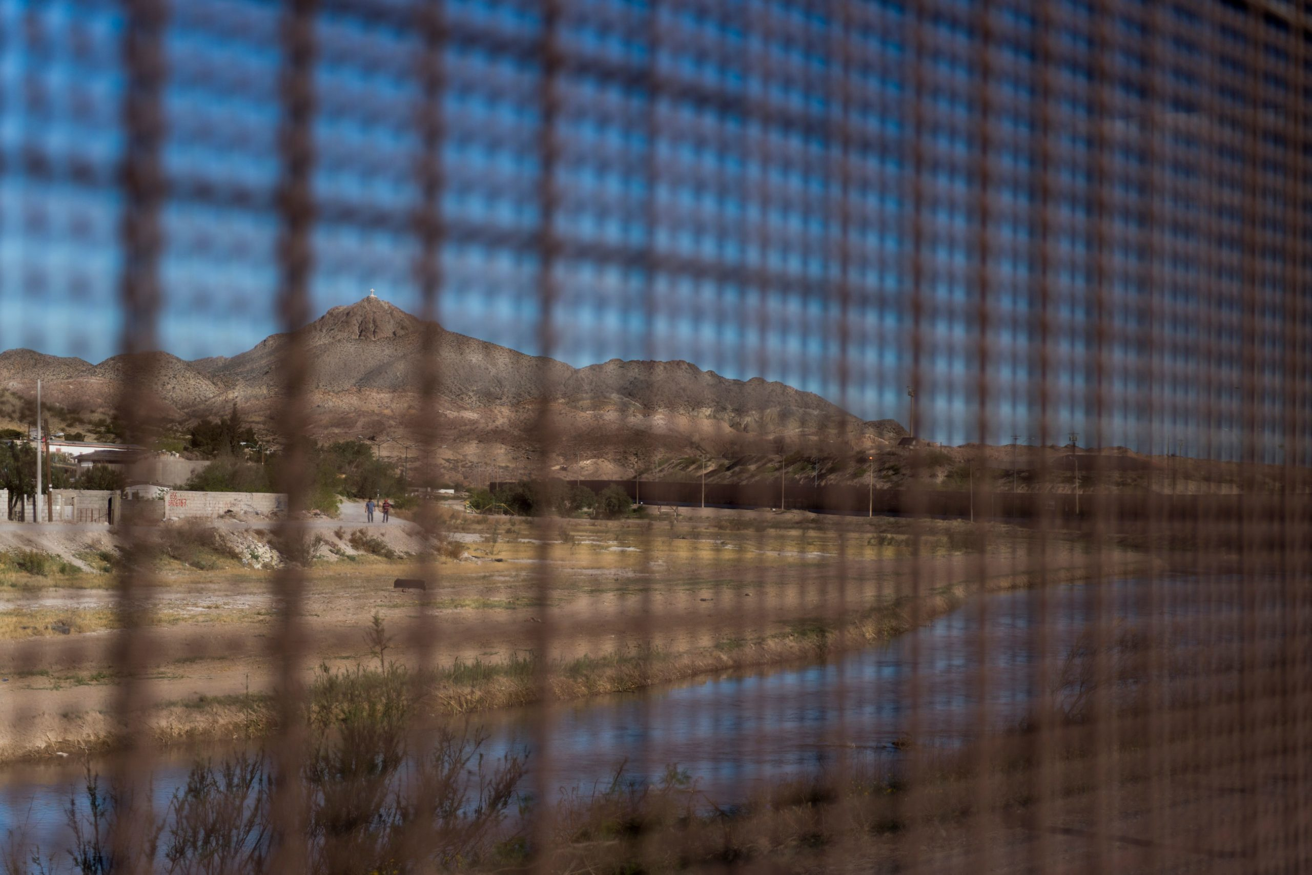 Mount Cristo Rey is pictured through the US-Mexico border fence near downtown El Paso, Texas, Sunday, April 8, 2018. (Photo credit should read PAUL RATJE/AFP via Getty Images)