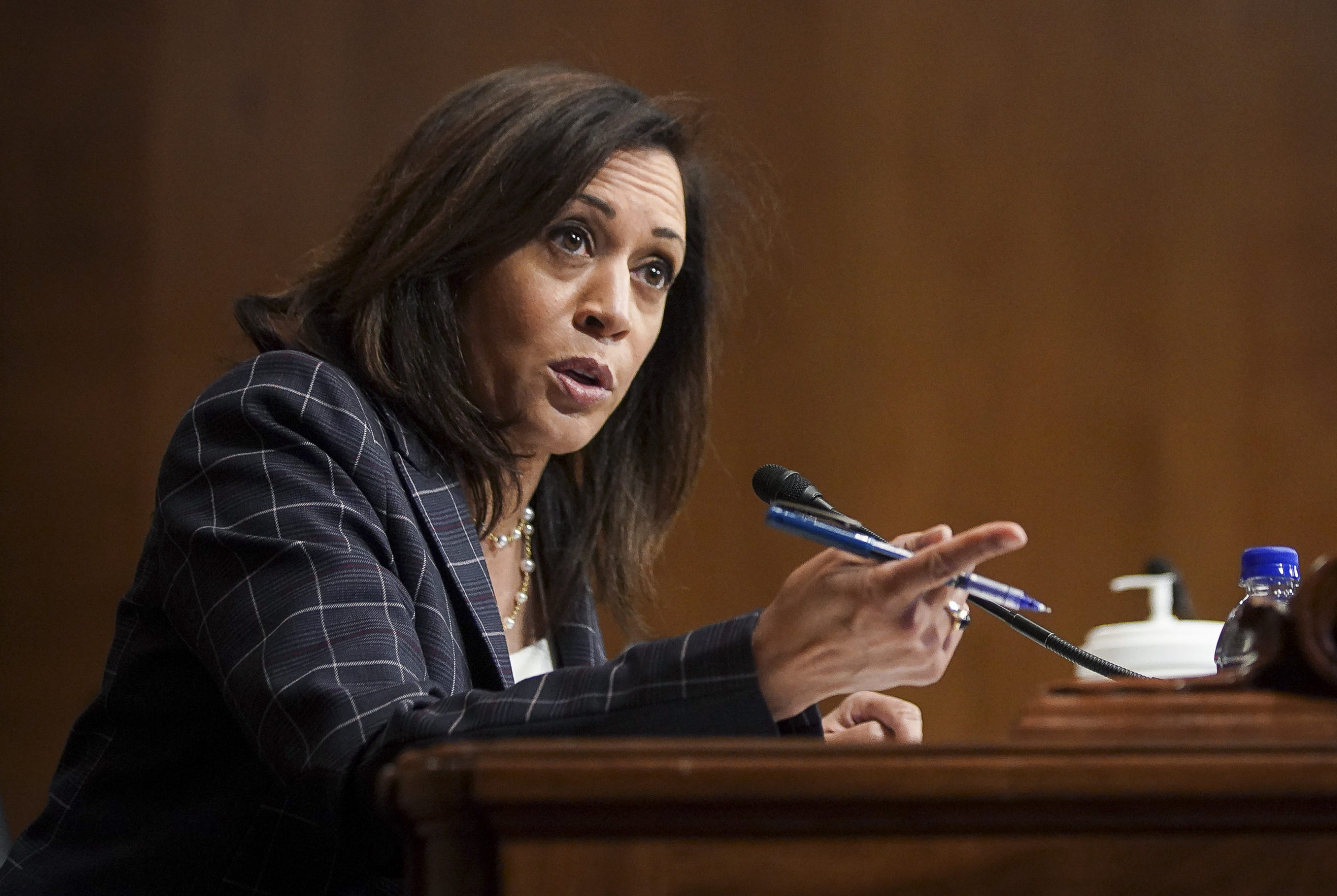 U.S. Sen. Kamala Harris (D-CA) speaks at a hearing of the Homeland Security Committee attended by acting U.S. Customs and Border Protection (CBP) Commissioner Mark Morgan at the Capitol Building on June 25, 2020 in Washington, DC. (Photo by Alexander Drago-Pool/Getty Images)
