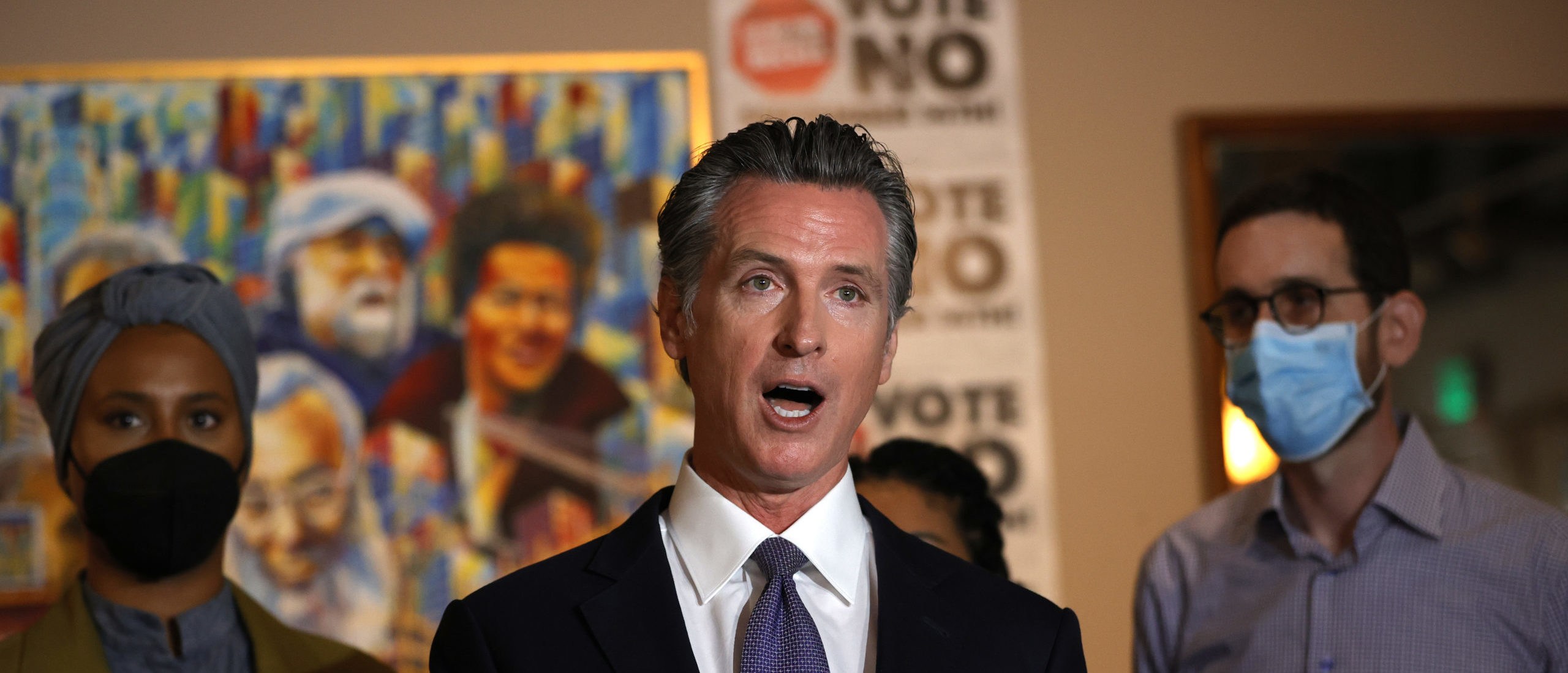 SAN FRANCISCO, CALIFORNIA - AUGUST 13: California Gov. Gavin Newsom speaks during a news conference at Manny's on August 13, 2021 in San Francisco, California. (Photo by Justin Sullivan/Getty Images)