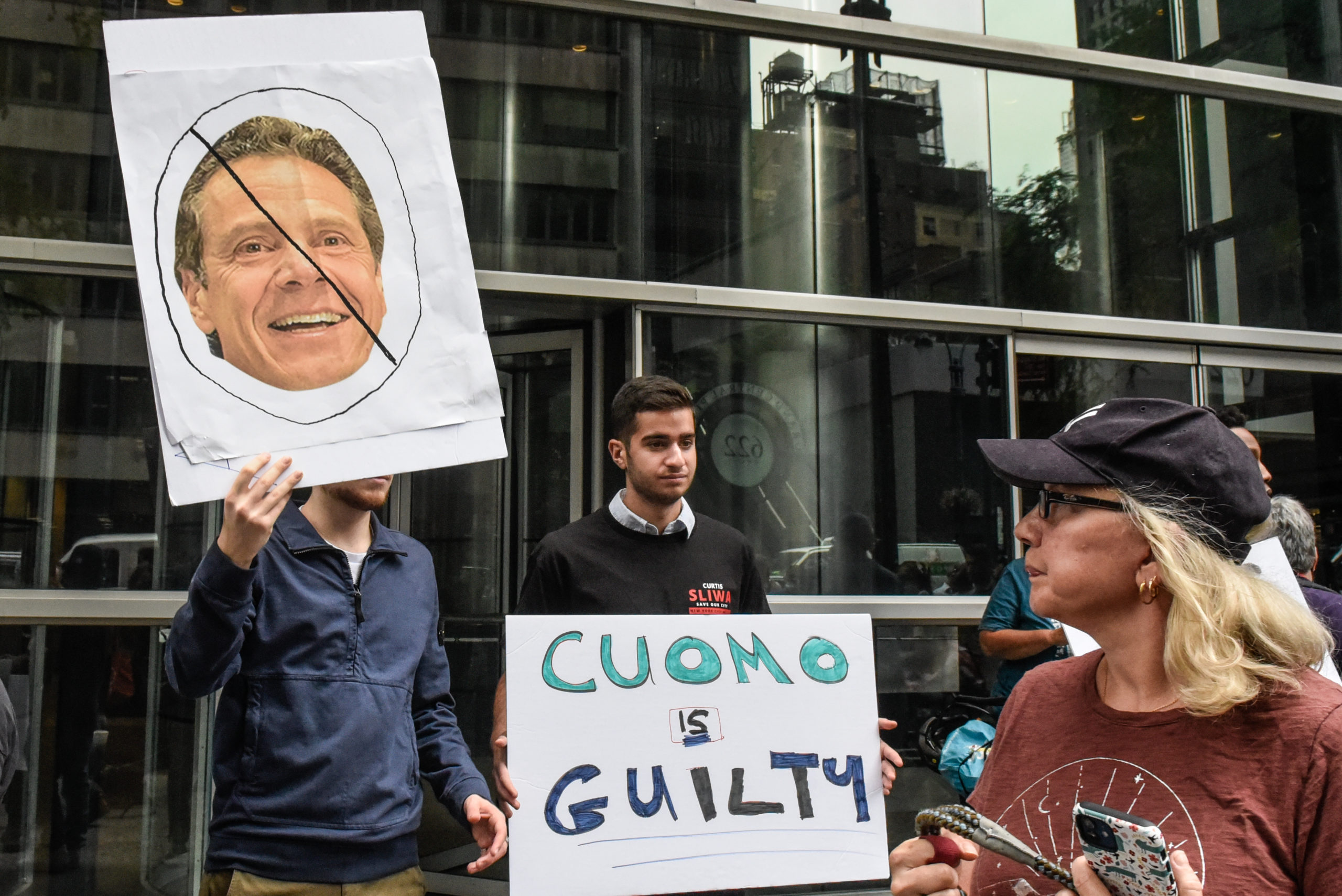 People participate in a protest against N.Y. Governor Andrew Cuomo and protest for a moratorium on evictions on August 4, 2021 in New York City. (Photo by Stephanie Keith/Getty Images)
