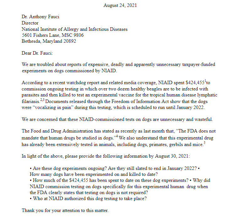A letter from Congressional Republicans to Dr. Anthony Fauci demanding answers on abusive animal testing being conducted by NIAID. (Daily Caller/White Coat Waste Project)