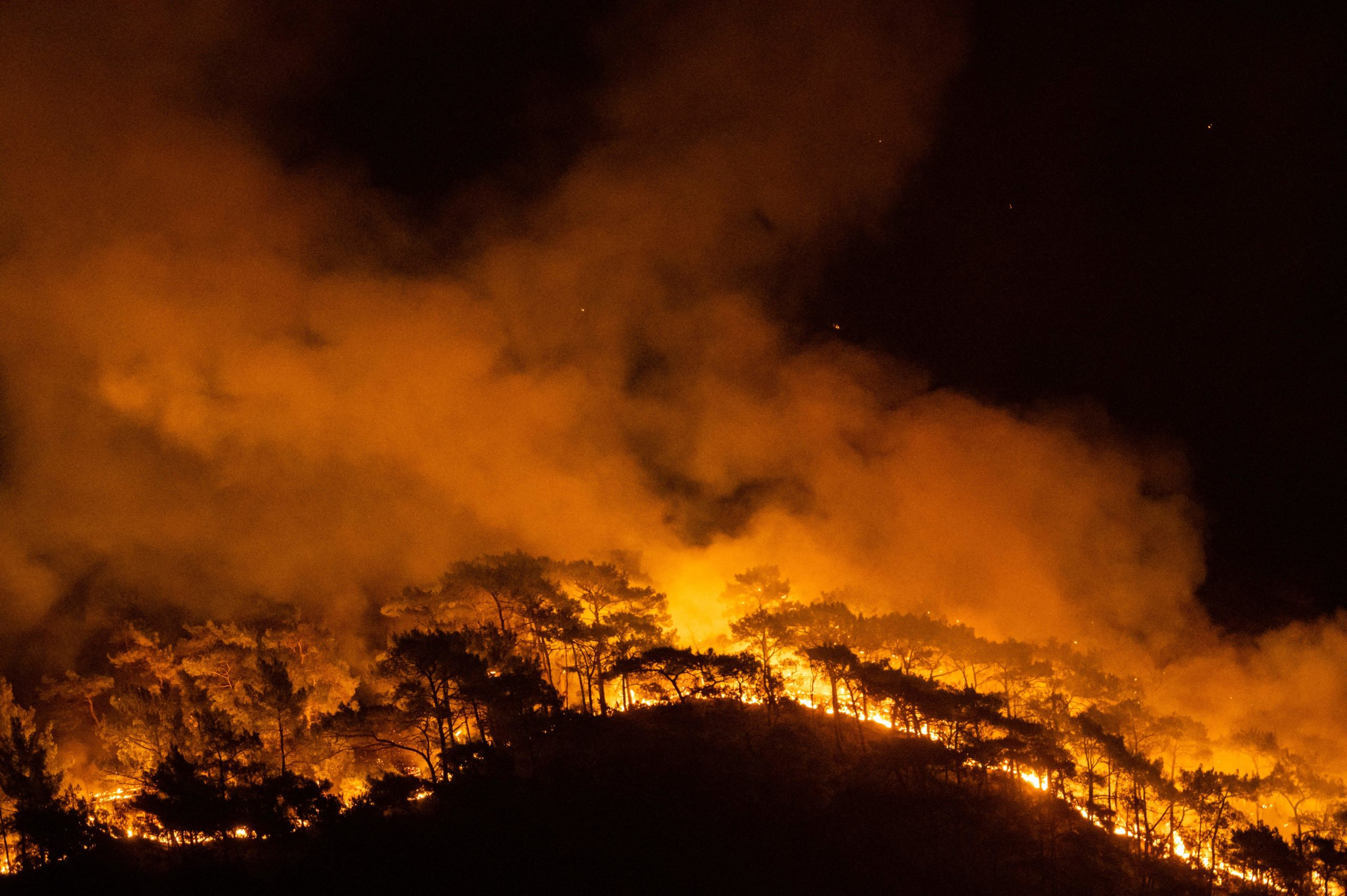 This photograph shows a forest burning as a massive wildfire engulfed a Mediterranean resort at the Marmaris district of Mugla, on August 1 2021. - At least three people were reported dead on July 29, 2021 and more than 100 injured as firefighters battled blazes engulfing a Mediterranean resort region on Turkey's southern coast. (Photo by YASIN AKGUL/AFP via Getty Images)