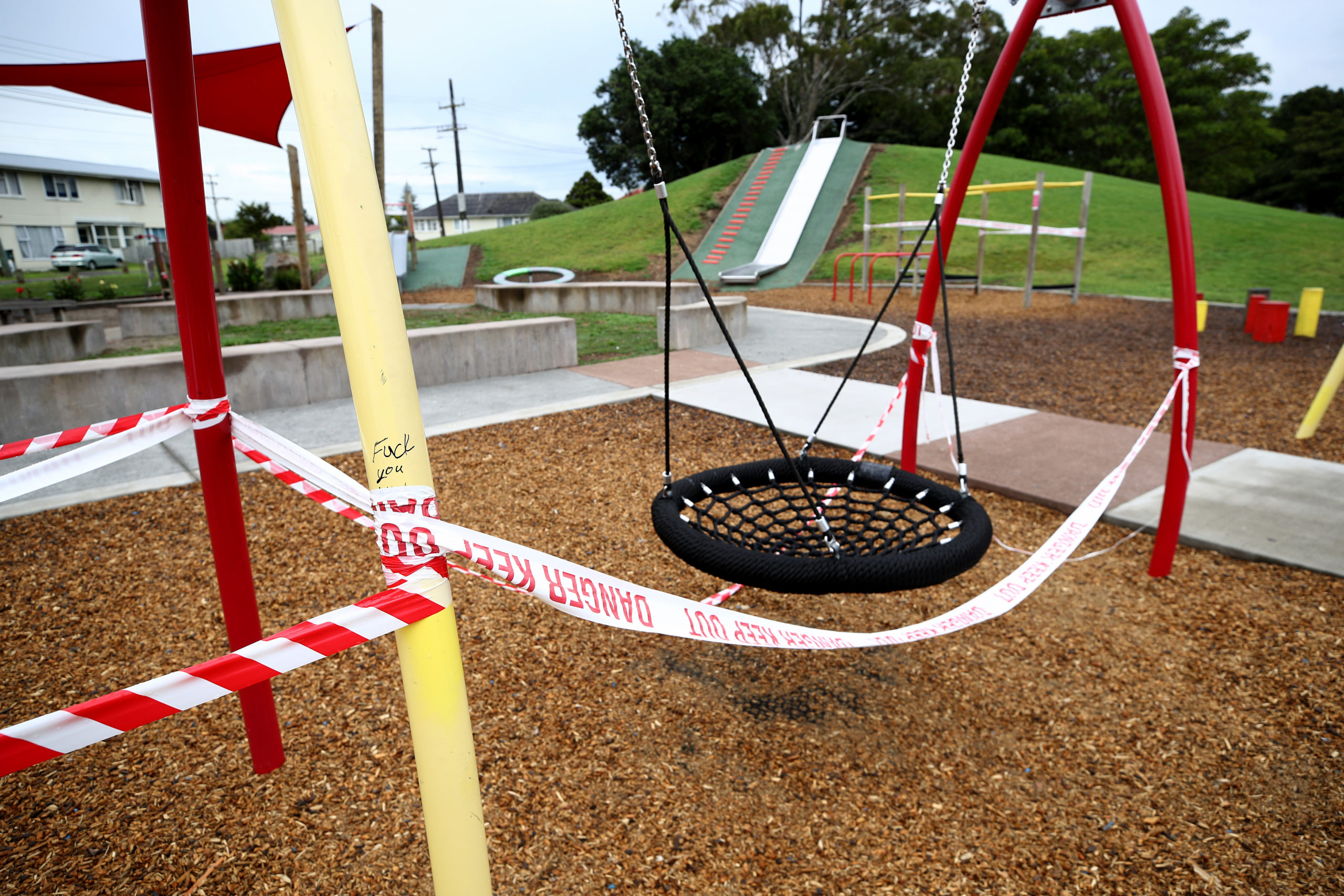 A childs playground is shown closed to prevent the spread of COVID-19 in Otara in Auckland, New Zealand. (Photo by Phil Walter/Getty Images)