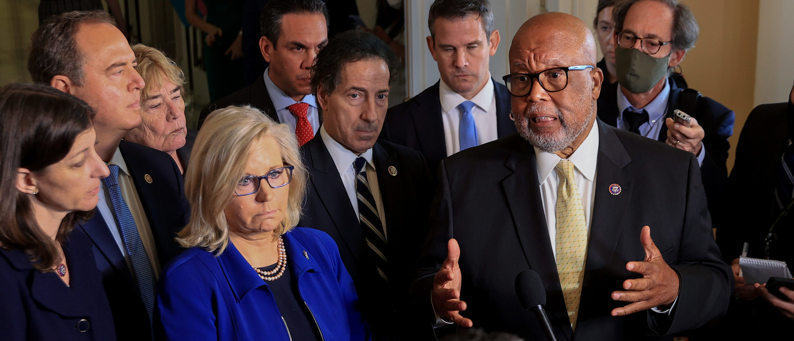 Chairman Rep. Bennie Thompson and Rep. Liz Cheney joined by fellow committee members, speak to the media following a hearing of the House Select Committee investigating the January 6 attack on the U.S. Capitol. (Photo by Chip Somodevilla/Getty Images)
